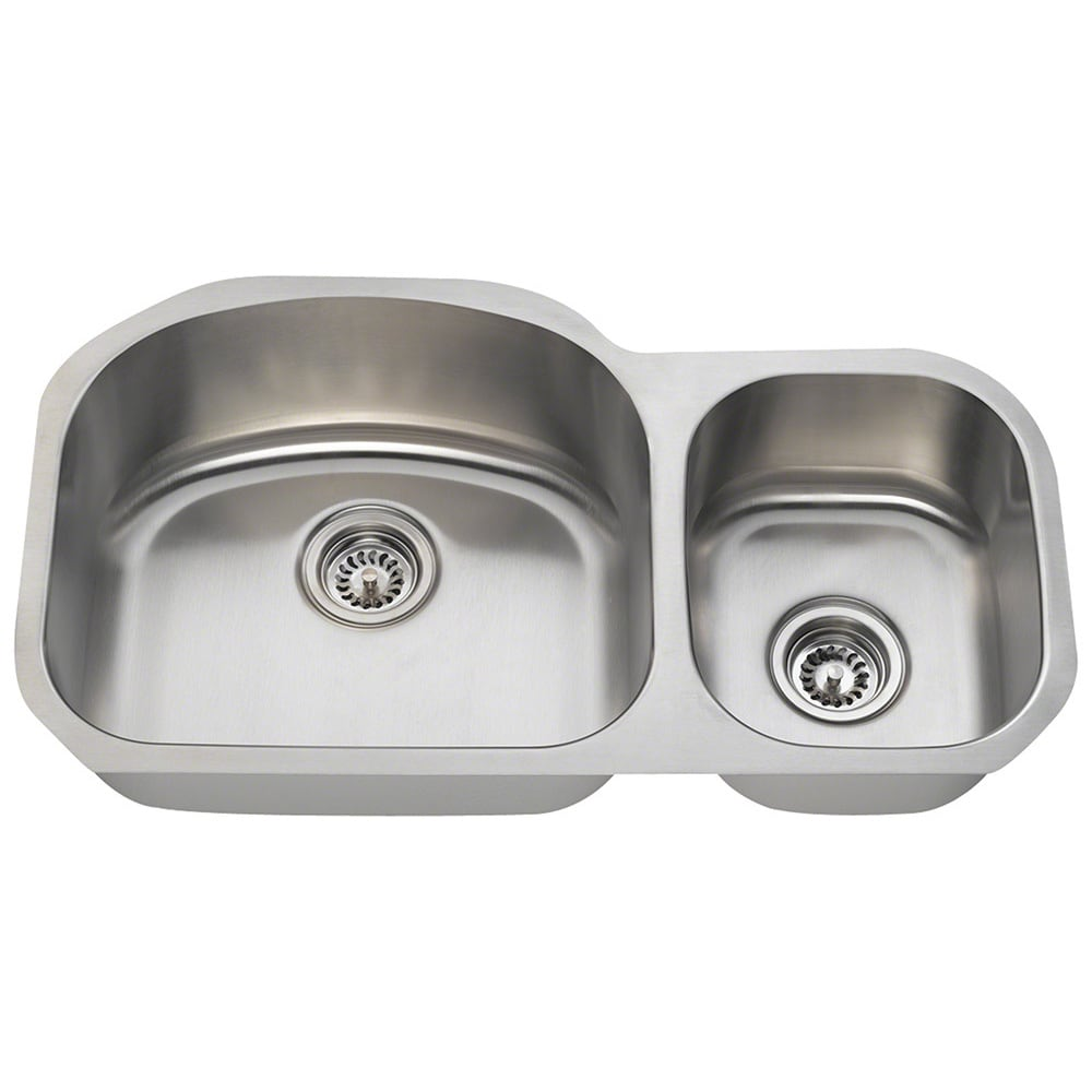 Shop Polaris Pl105 16 Gauge Offset Double Bowl Stainless Steel Sink   Free  Shipping Today   Overstock.com   9006258
