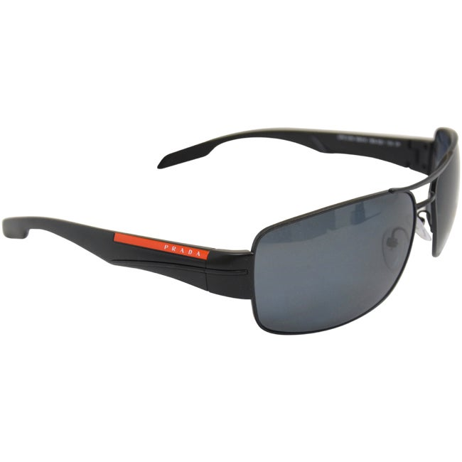 8918a09e81 Shop PS 53NS 1BO5Z1 Demi Shiny Black Polarized Gray by Prada for Men -  65-16-130 mm Sunglasses - Free Shipping Today - Overstock - 9007644