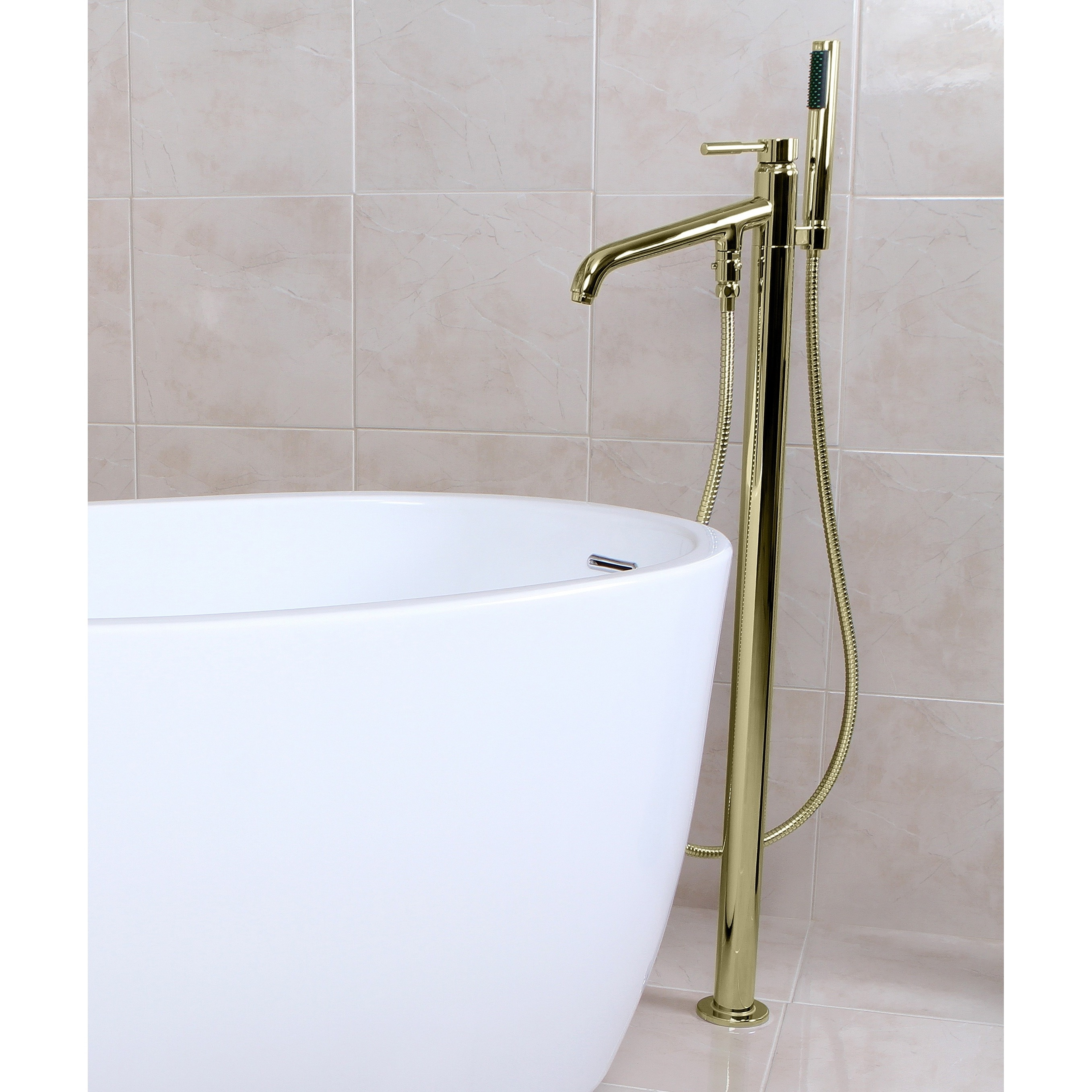 Shop Freestanding Polished Brass Floor-mount Bathtub Filler with ...