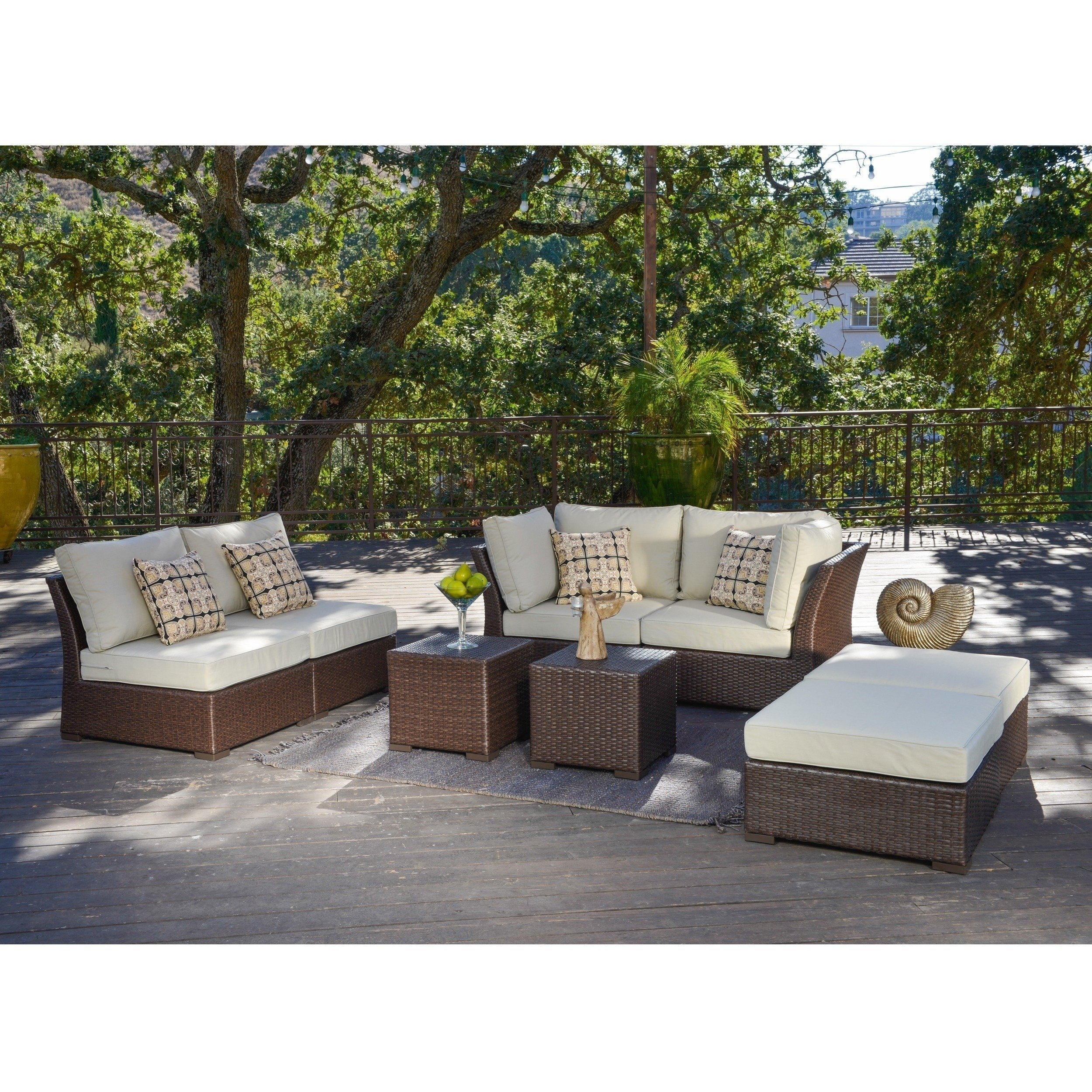 shop corvus oreanne 8 piece brown wicker patio furniture set free rh overstock com Light Brown Wicker Patio Furniture Light Brown Wicker Patio Furniture