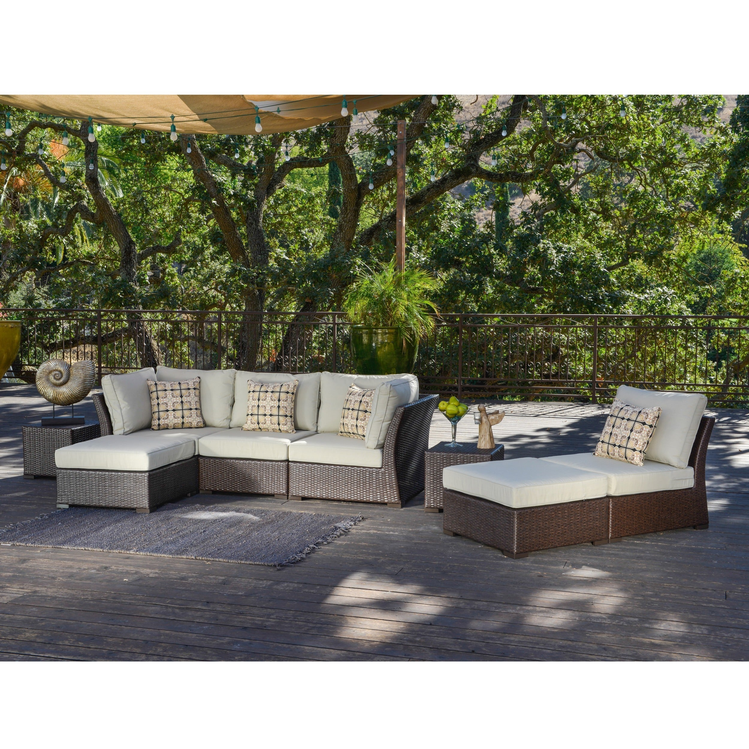Corvus Oreanne 8-piece Brown Wicker Patio Furniture Set - Free ...