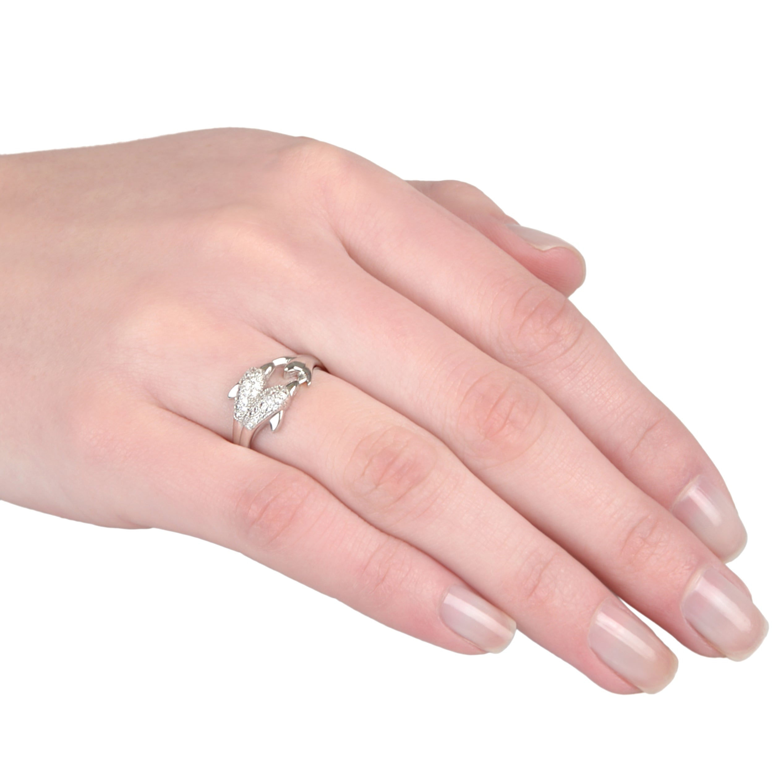 Journee Collection Sterling Silver Cubic Zirconia Dolphin Ring ...