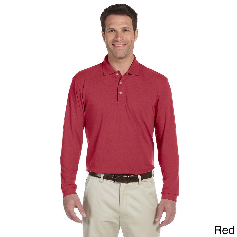 c7b4ed9e Shop Men's Easy Blend Long Sleeve Polo Shirt - Free Shipping On ...