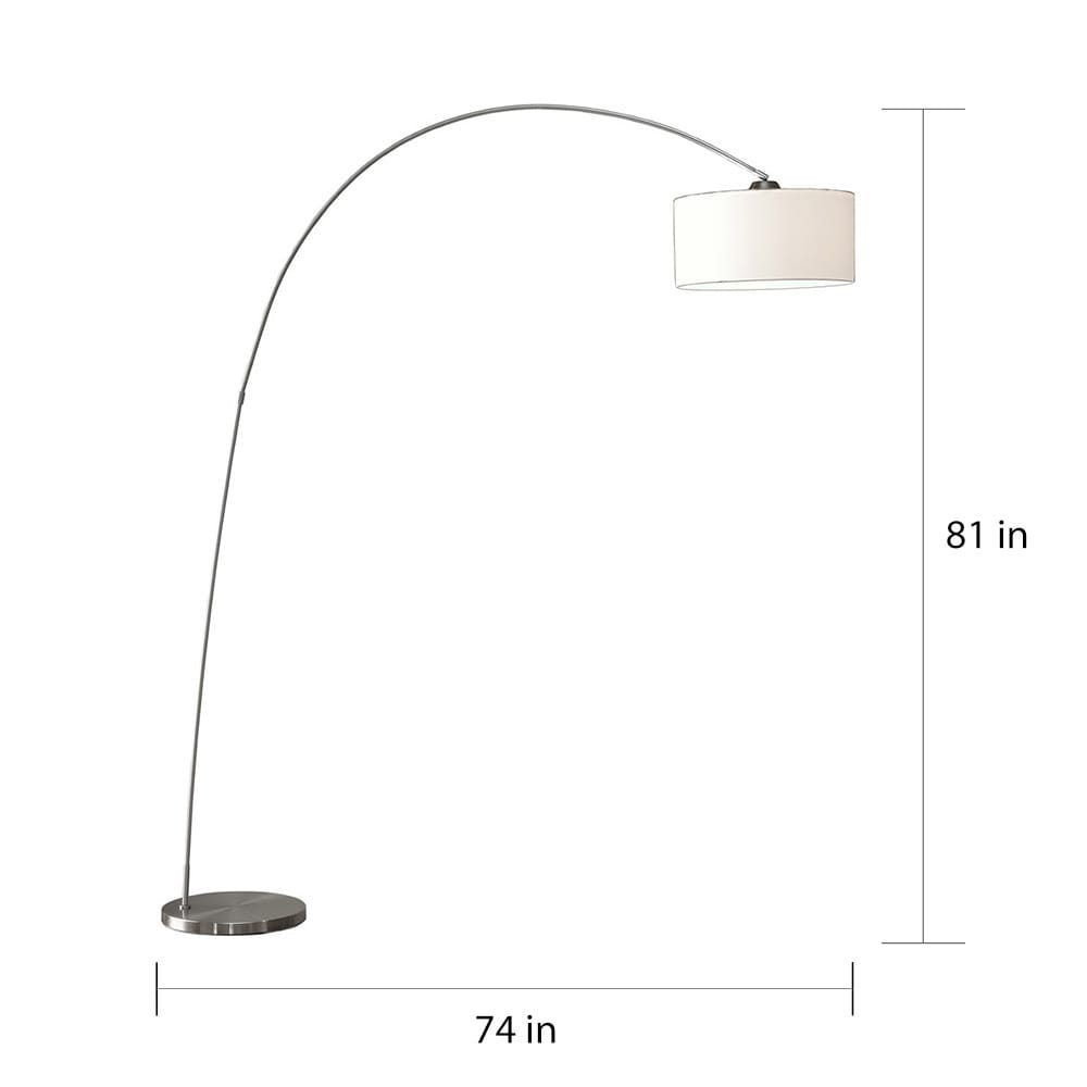 Artiva USA Adelina Arched Brushed Steel Floor Lamp - Free Shipping ...