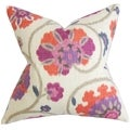 Tarian Floral Purple Down Filled Throw Pillow