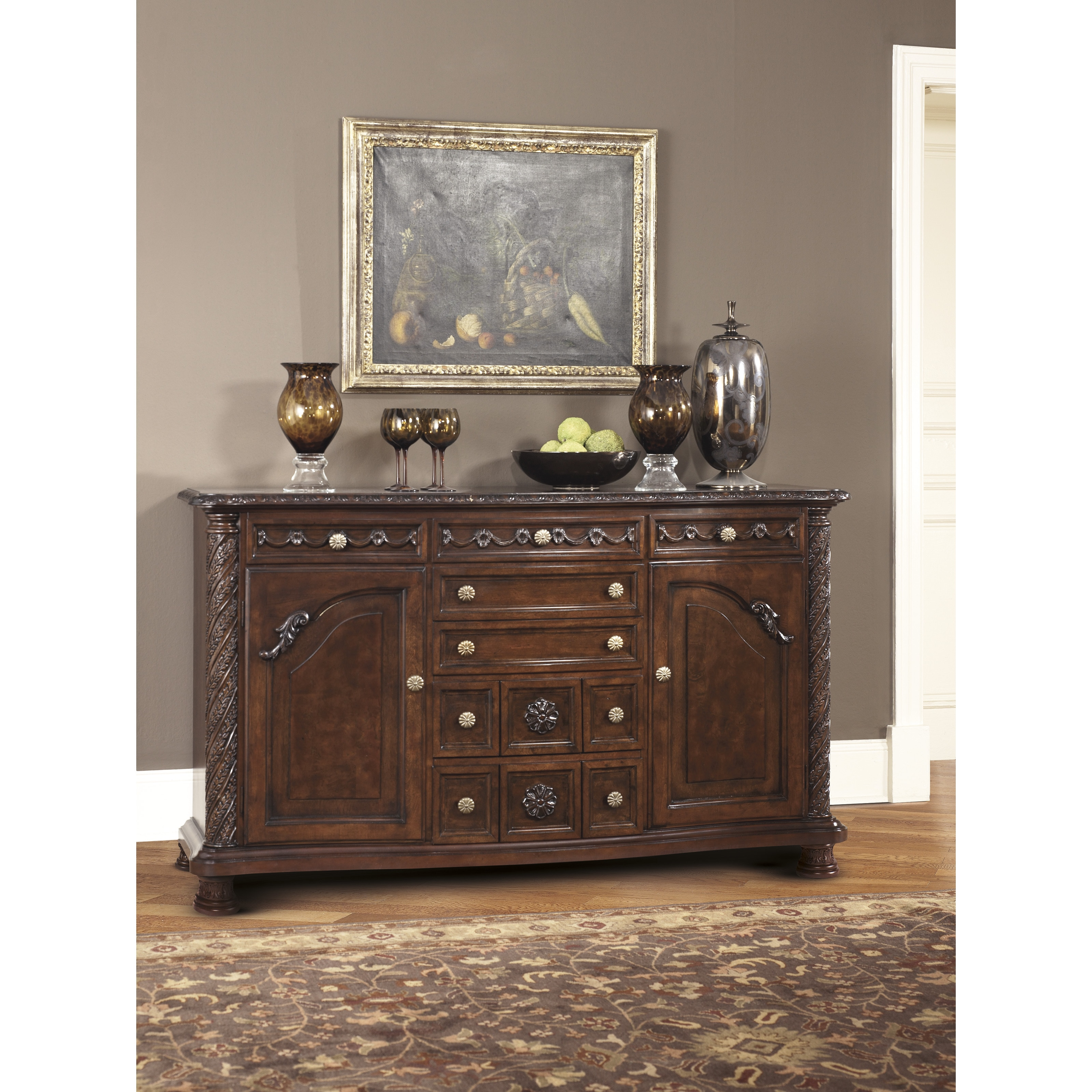 Signature Design By Ashley North Shore Dining Room Server In Dark Brown Finish Overstock 9038962