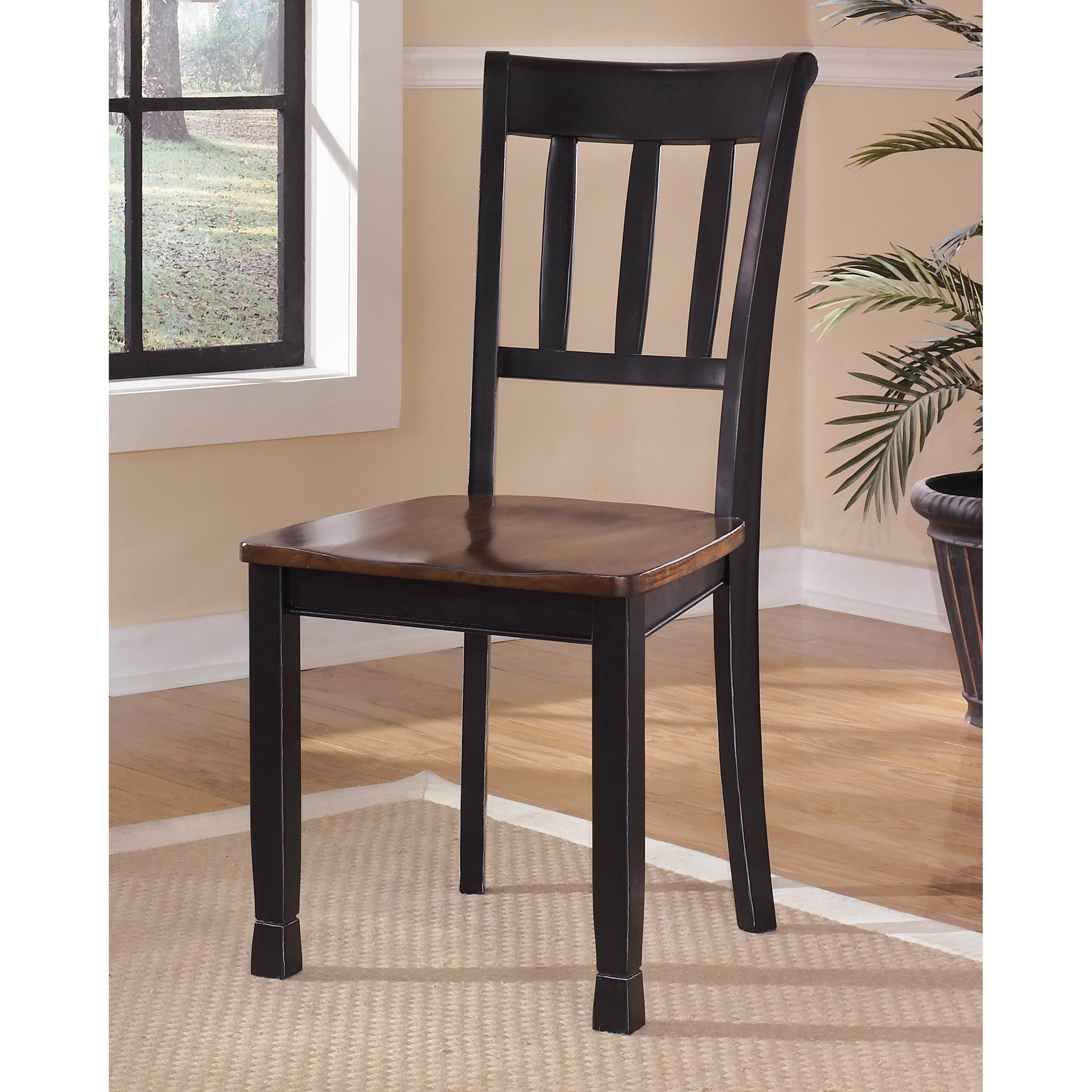 Signature Design By Ashley Owingsville Medium Brown/Black Wood Ladderback  Dining Chairs (Set Of 2)   Free Shipping Today   Overstock   16237322