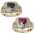 Michael Valitutti 14k Yellow Gold Pink Tourmaline or Iolite and Diamond Ring