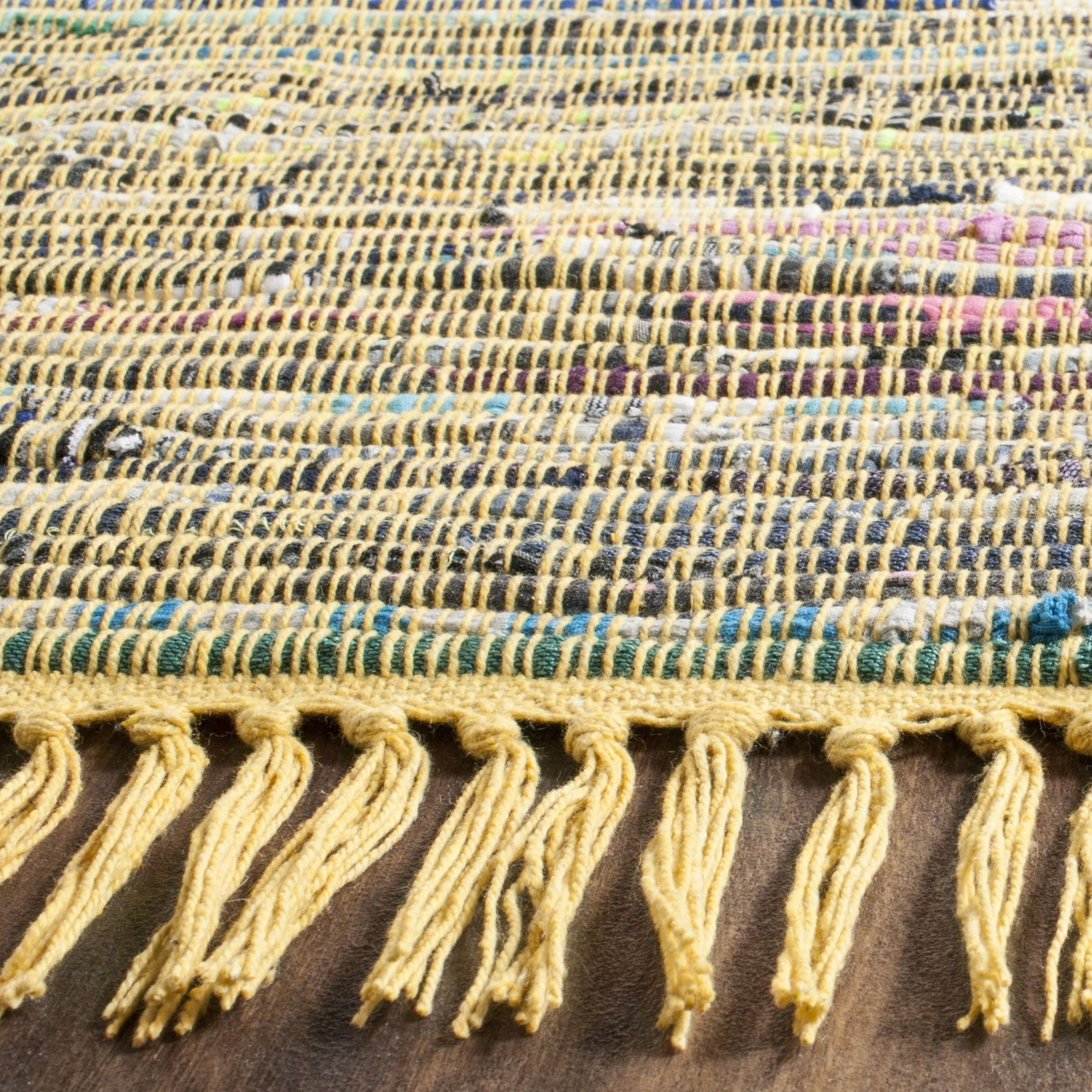 Safavieh Hand Woven Rag Rug Yellow Cotton 6 Square Free Shipping Today 16240971
