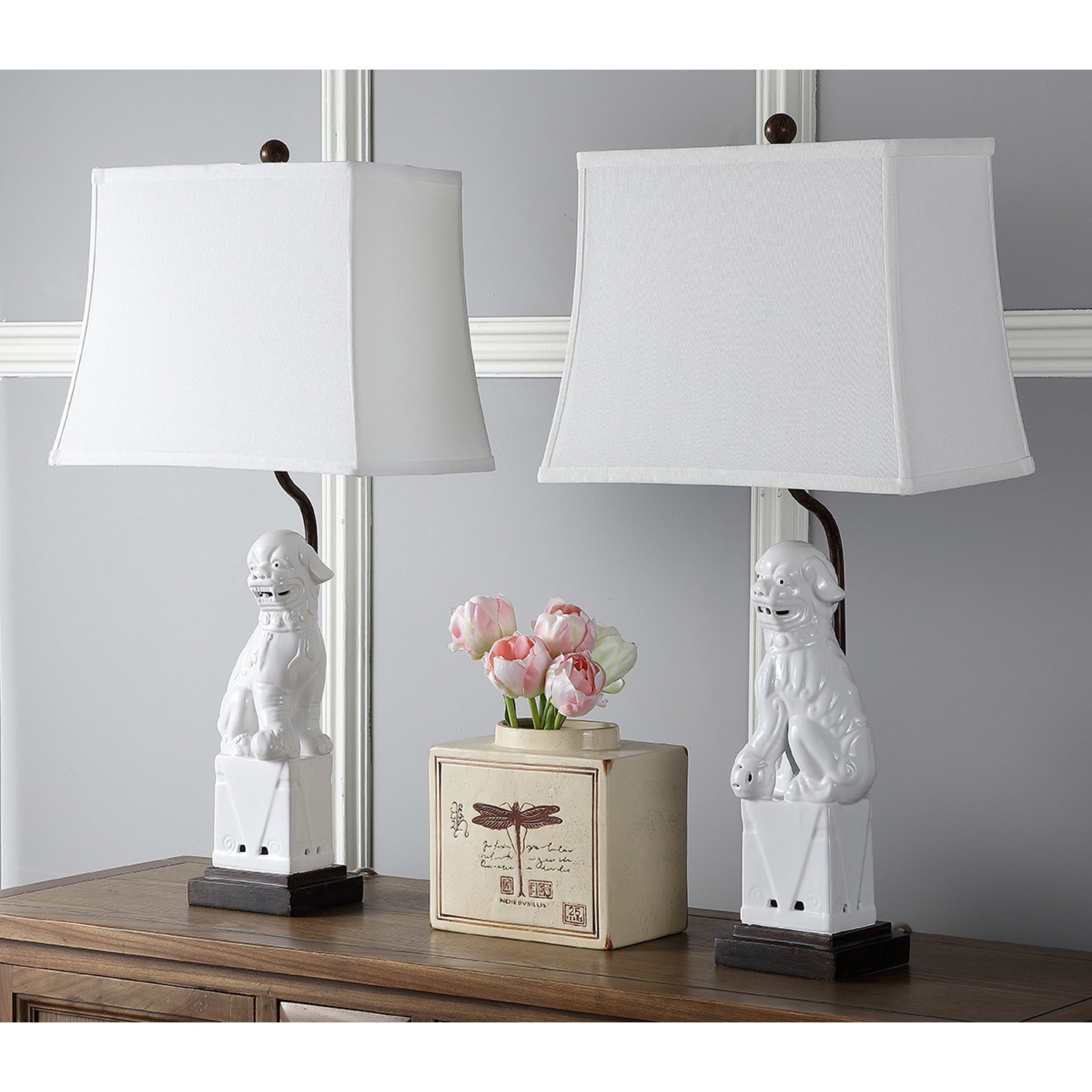 Safavieh Lighting 28 Inch White Foo Dog Table Lamp (Set Of 2)   Free  Shipping Today   Overstock.com   16240990