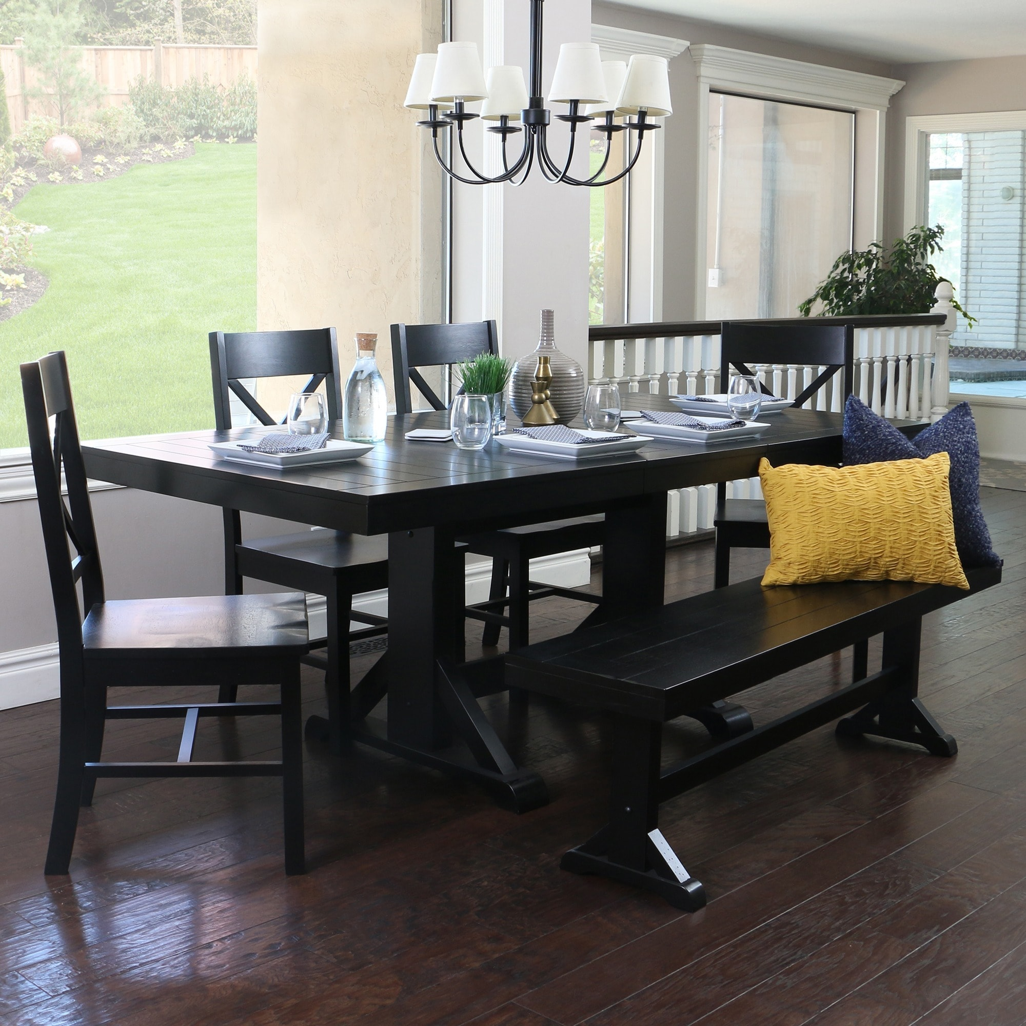 Countryside Chic 6 Piece Antique Black Wood Dining Set   Free Shipping  Today   Overstock   16241100