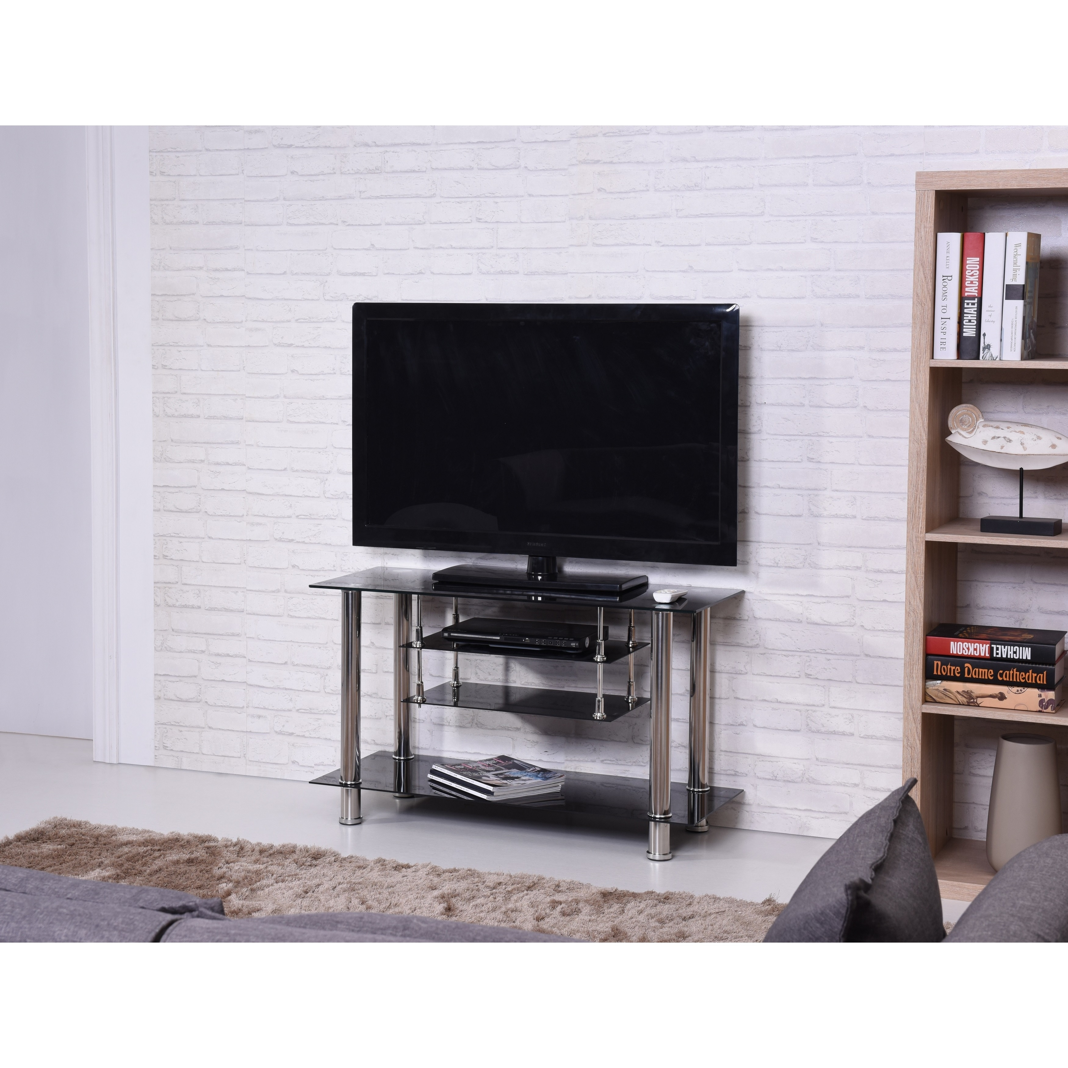 Black Chrome Tiered Tempered Glass Tv Stand
