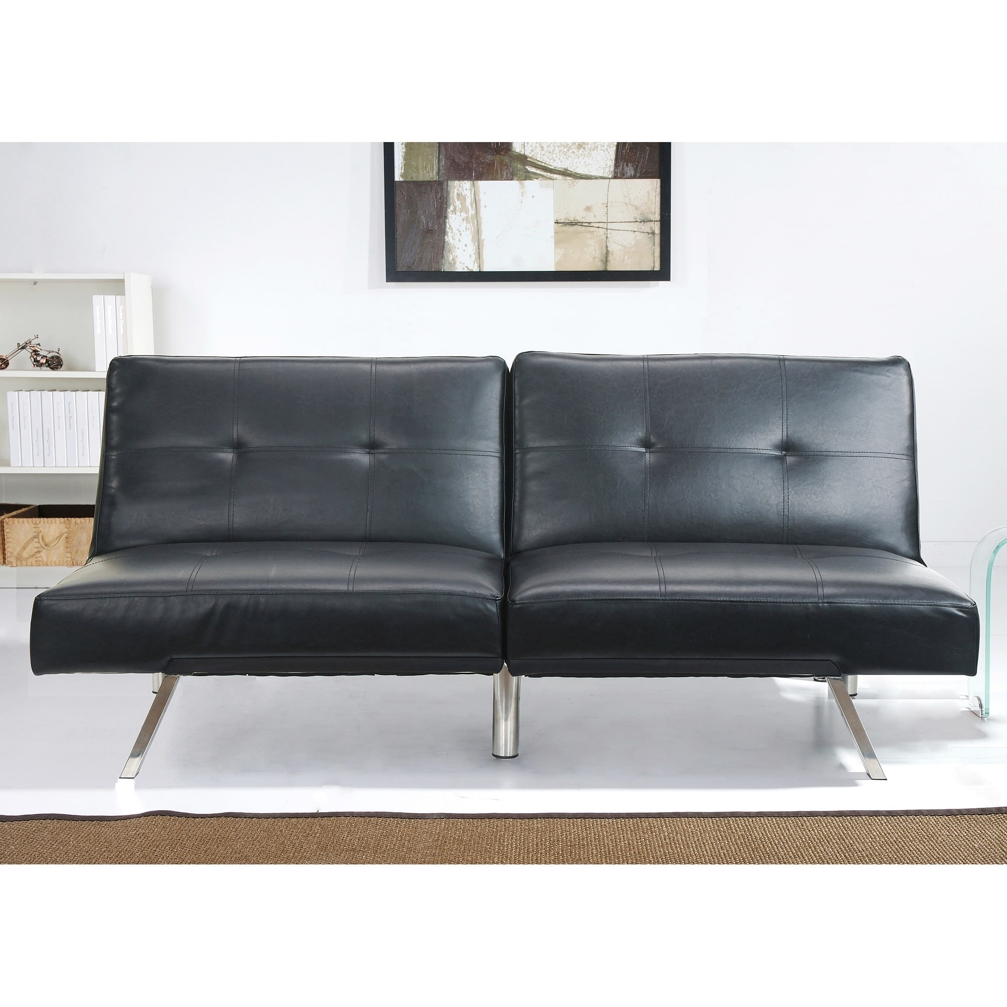 Abbyson Aspen Black Bonded Leather Foldable Futon Sleeper Sofa On Free Shipping Today Com 9043818