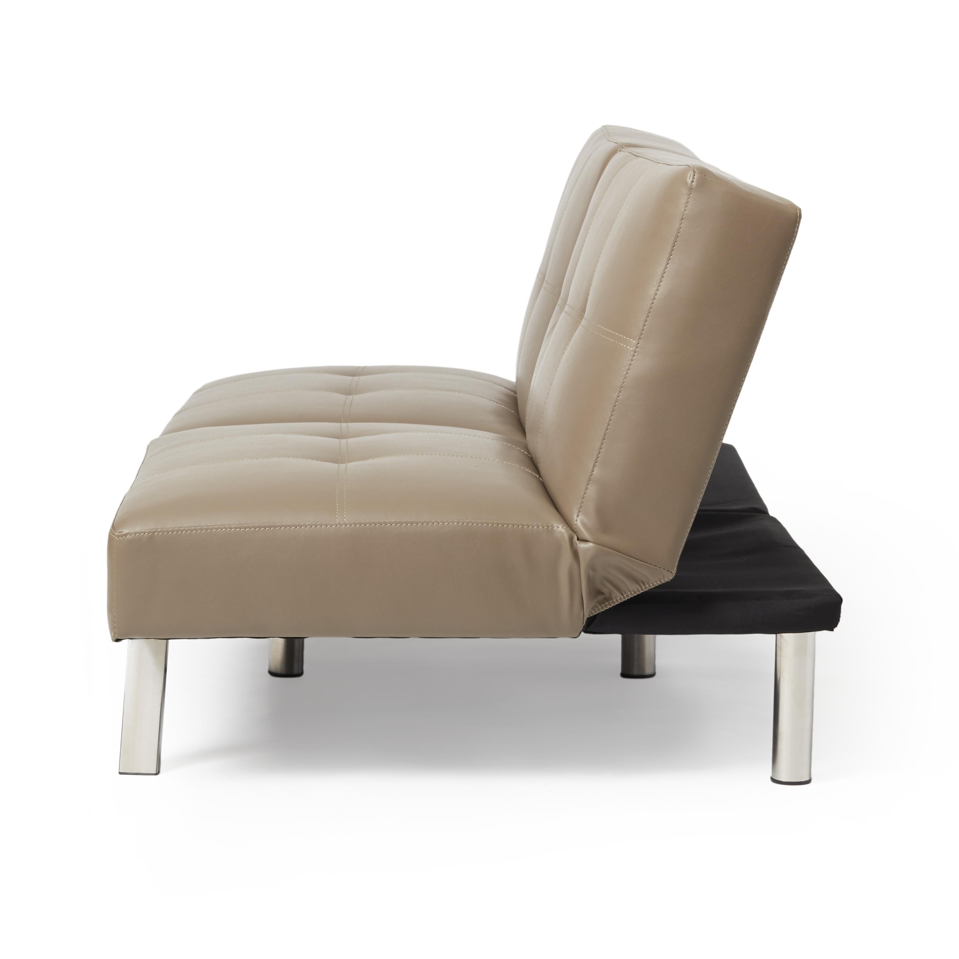 Abbyson Aspen Taupe Bonded Leather Foldable Futon Sleeper Sofa