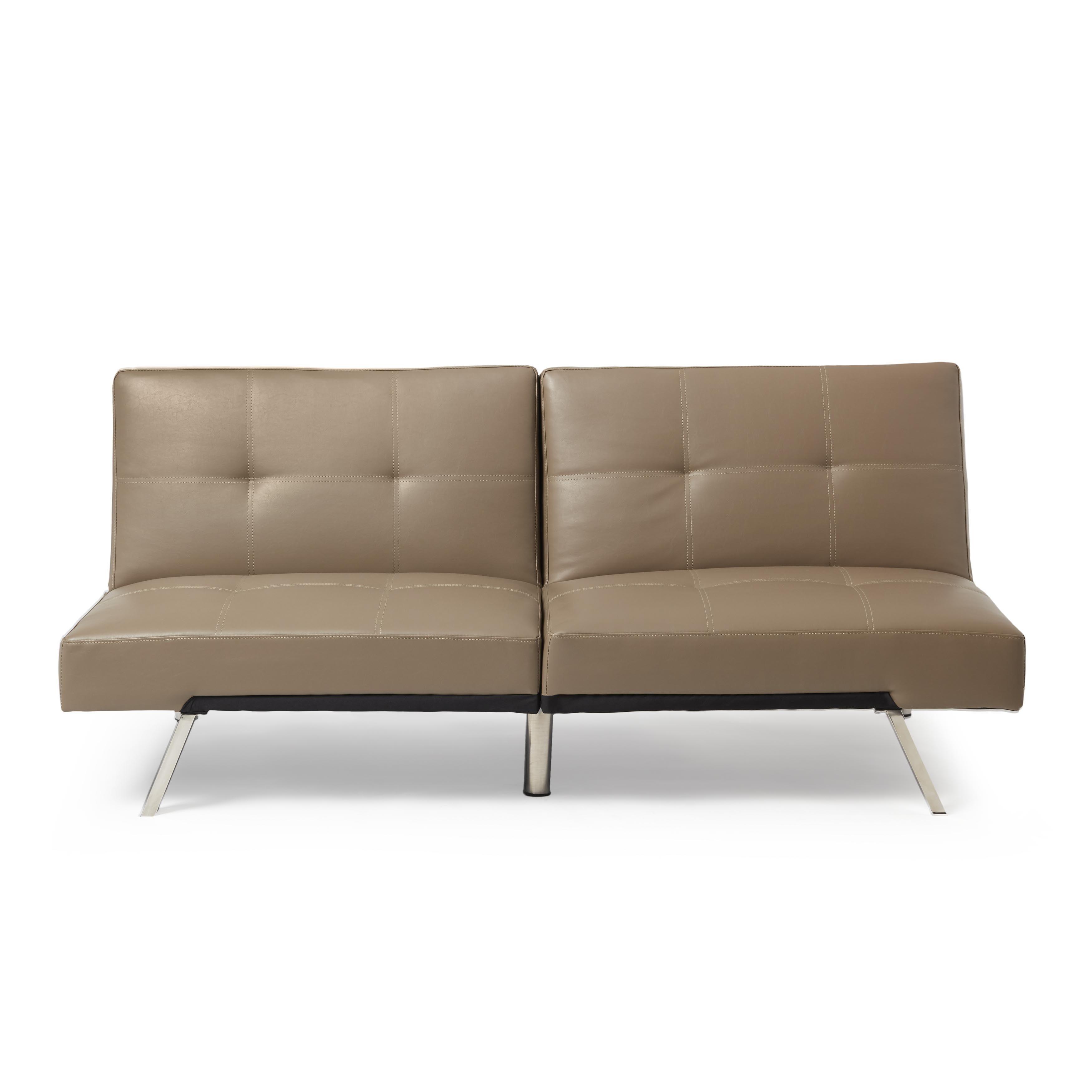 Abbyson Aspen Taupe Bonded Leather Foldable Futon Sleeper Sofa On Free Shipping Today Com 9043835