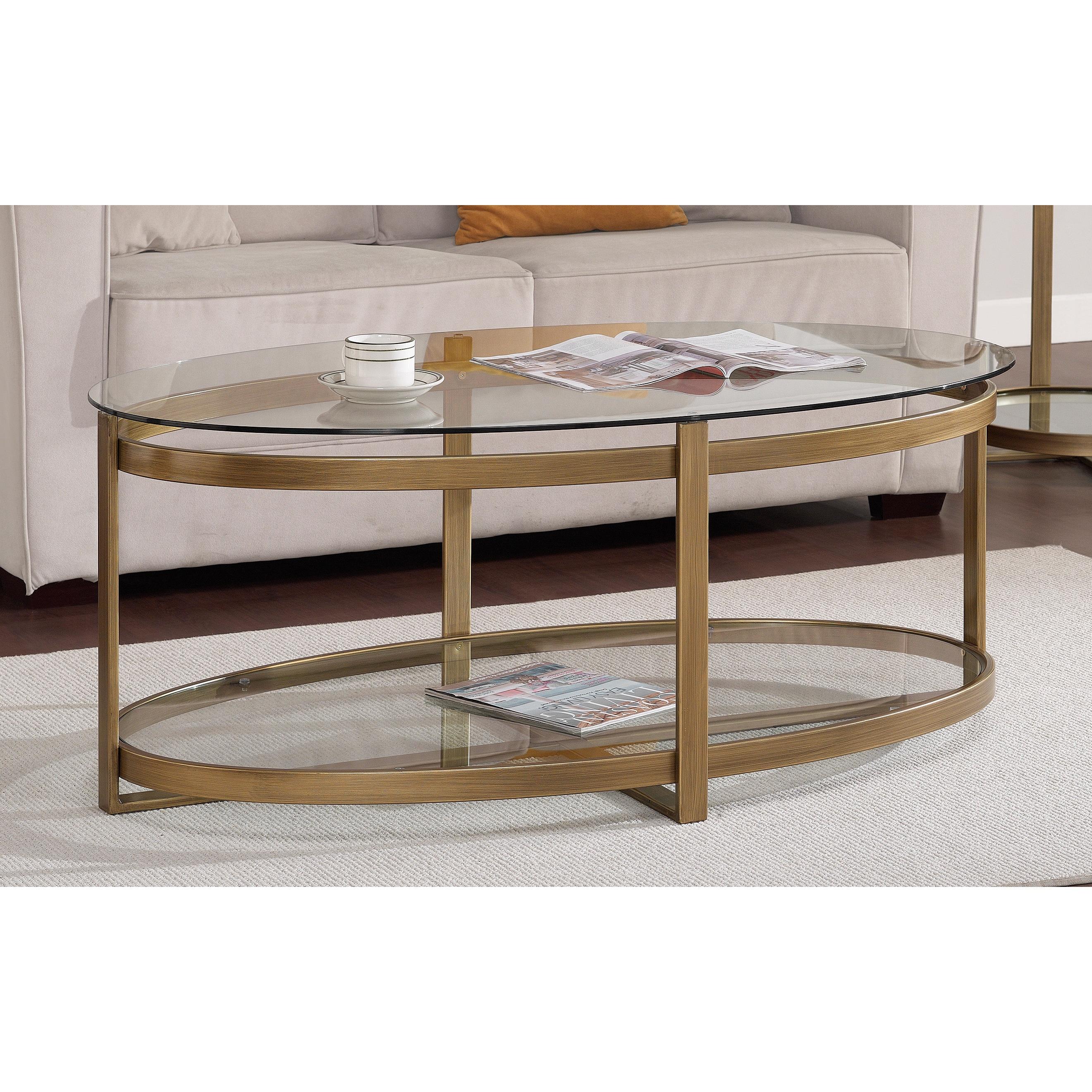 Silver Orchid Marcello Retro Glitz Glass Metal Coffee Table