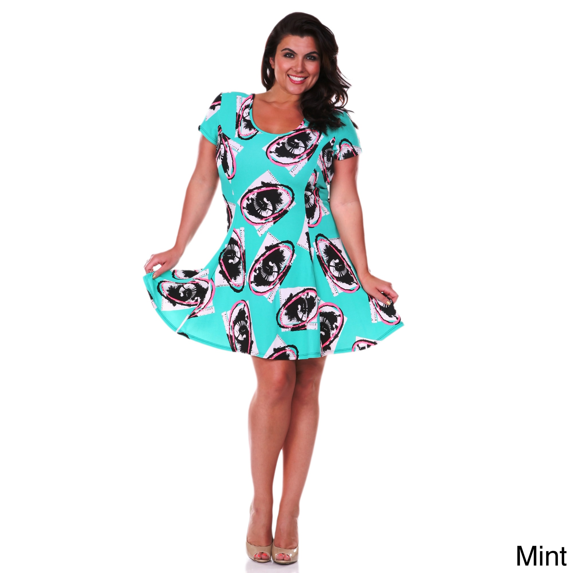 White Mark Women\'s Plus Size Floral Print Fit-and-Flare Dress