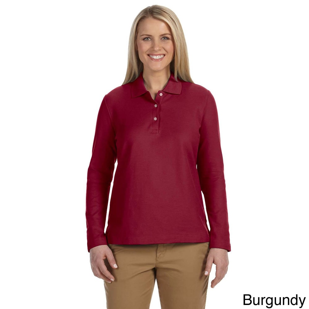 Shop Women s Pima Piquù Long-sleeve Polo Shirt - On Sale - Free Shipping On  Orders Over  45 - Overstock - 9051349 ddf61fd41f