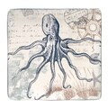 Hand-painted Coastal Postcards 12.25-inch Square Ceramic Serving Platter