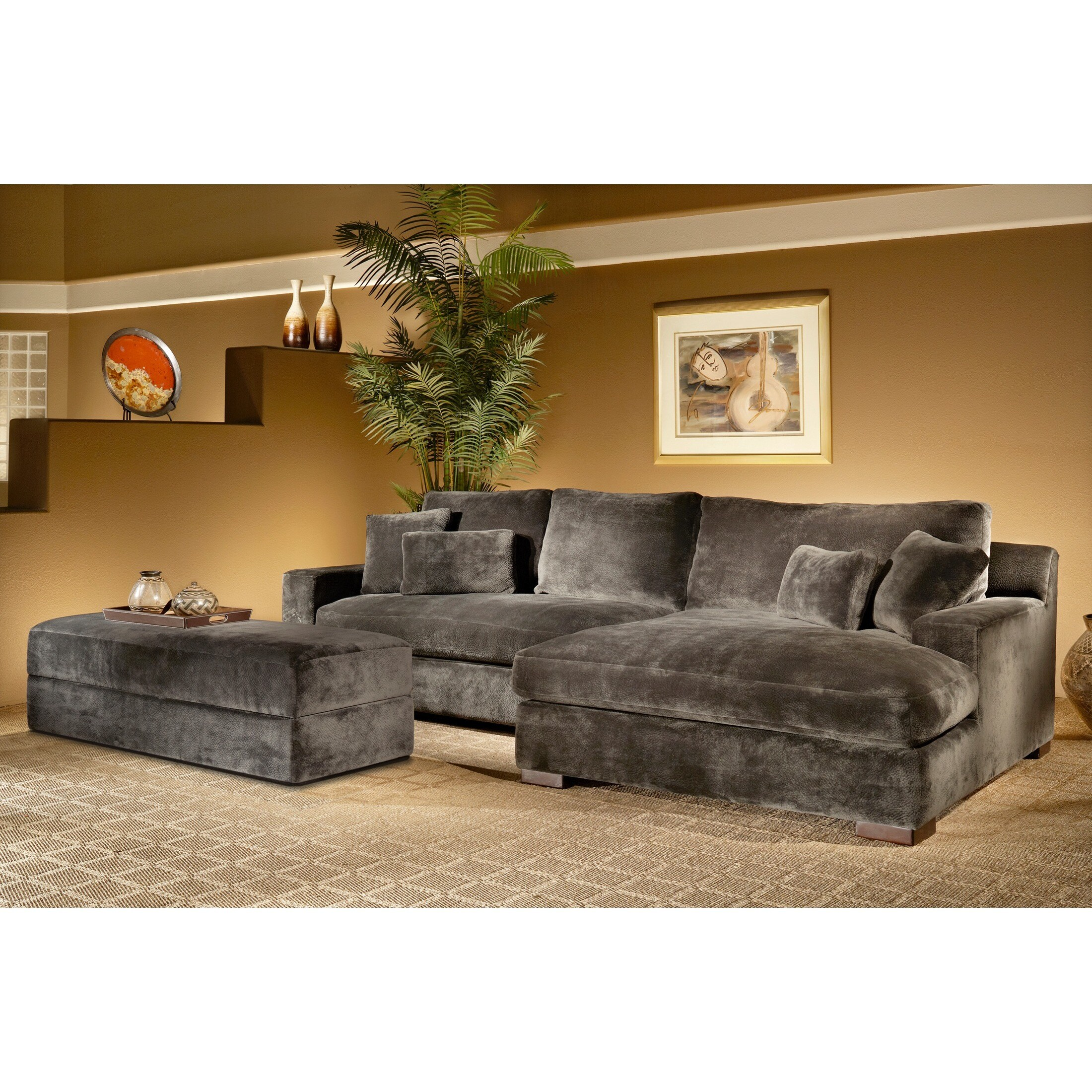 Fairmont Designs Made To Order Doris 3-piece Smoke Sectional Sofa with  Storage Ottoman