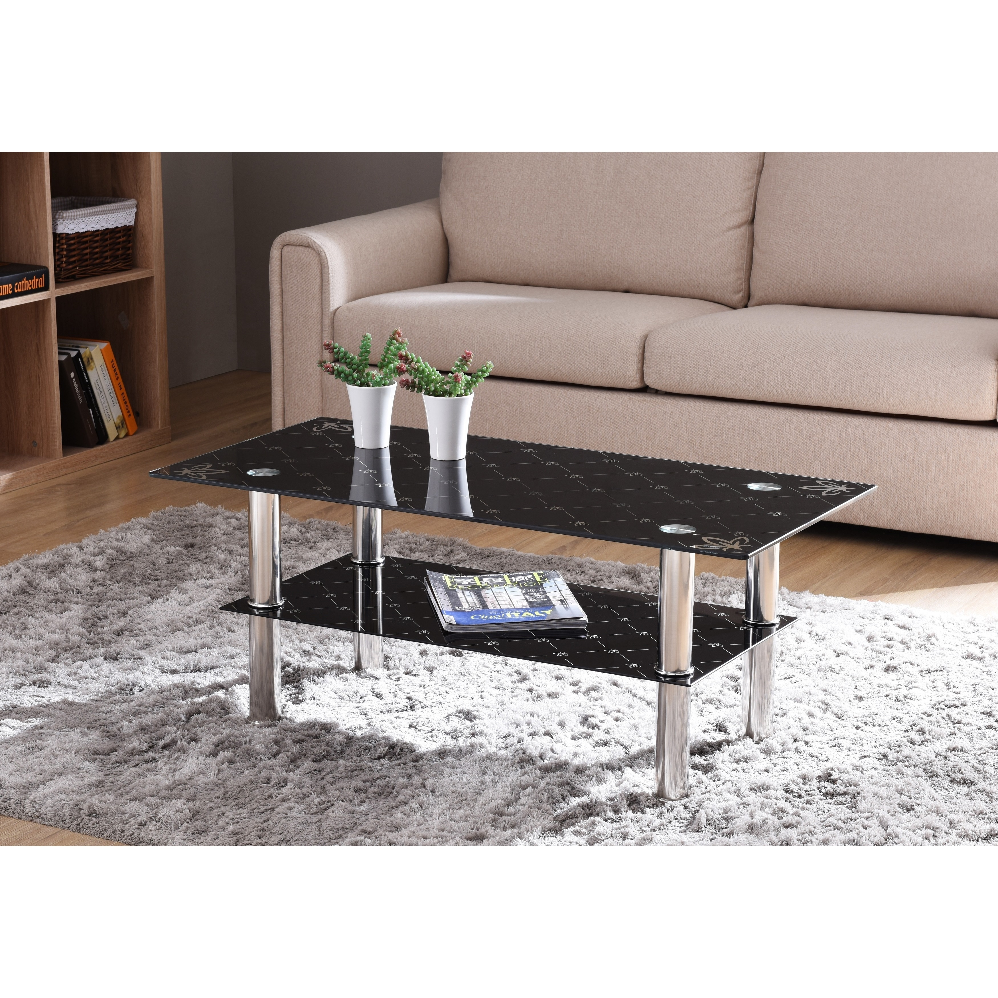 Black Tempered Gl Coffee Table Drinker