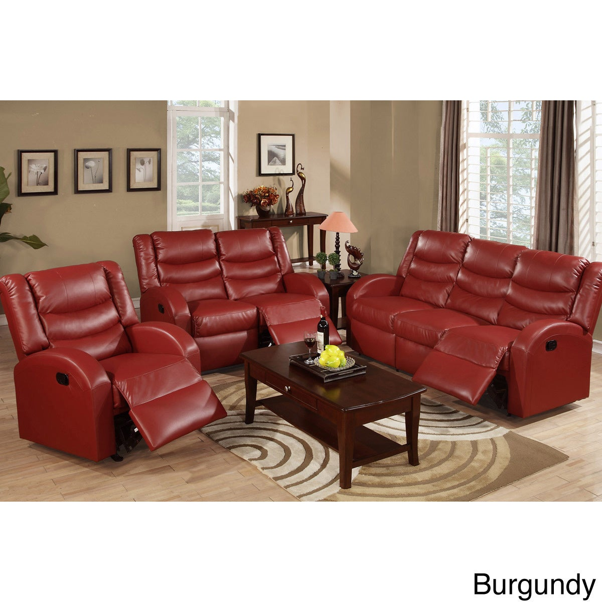 Rouen Bonded Leather Recliner Motion Living Room Set - Free ...