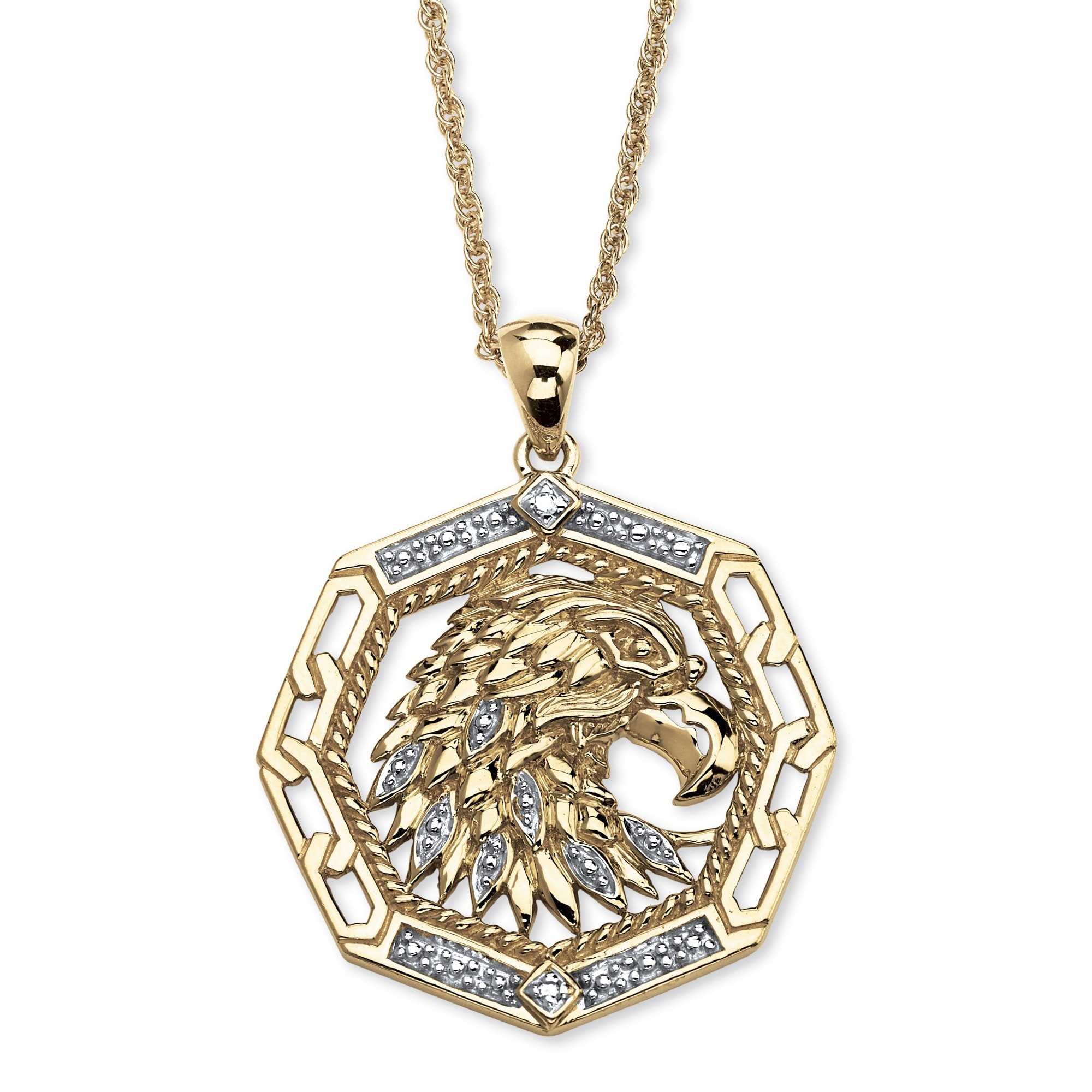 necklace lyst blackjack silver product for normal jewelry men metallic eagle pendant in gallery