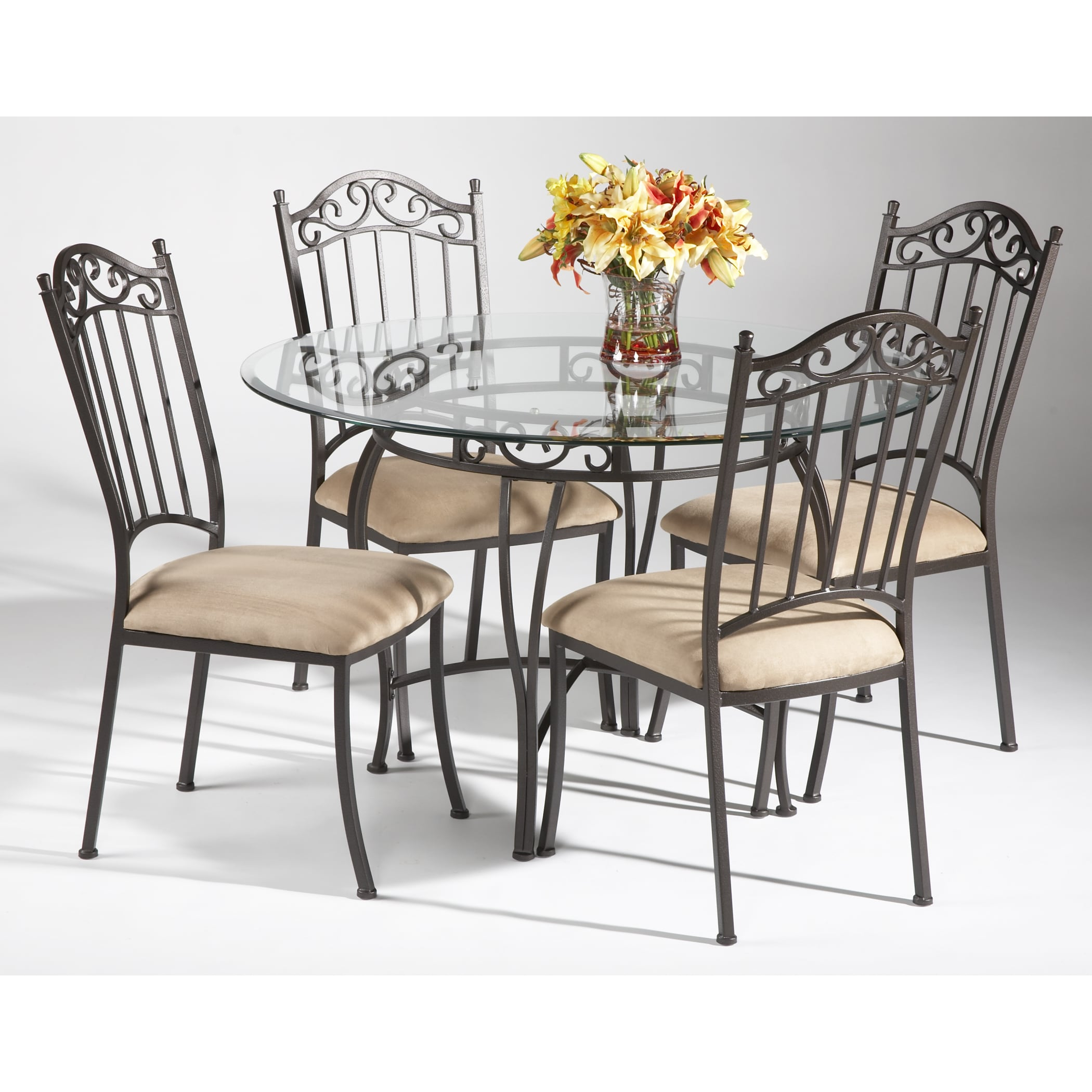 45911d5a64ab Shop Somette Round Wrought Iron Glass Top Dining Table - Free Shipping  Today - Overstock - 9054265