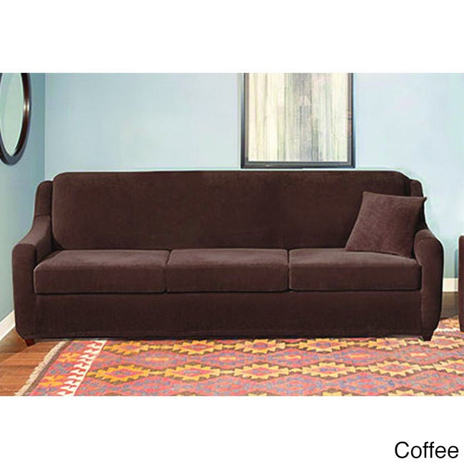 Shop Sure Fit Stretch Pearson 3 Cushion Sleeper Sofa Slipcover   Free  Shipping Today   Overstock.com   9056252
