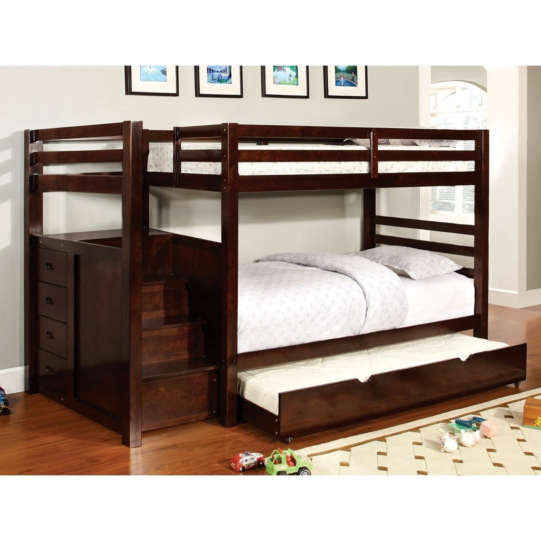 Shop Pine Ridge Espresso Bunk Bed With Drawers And Steps Free