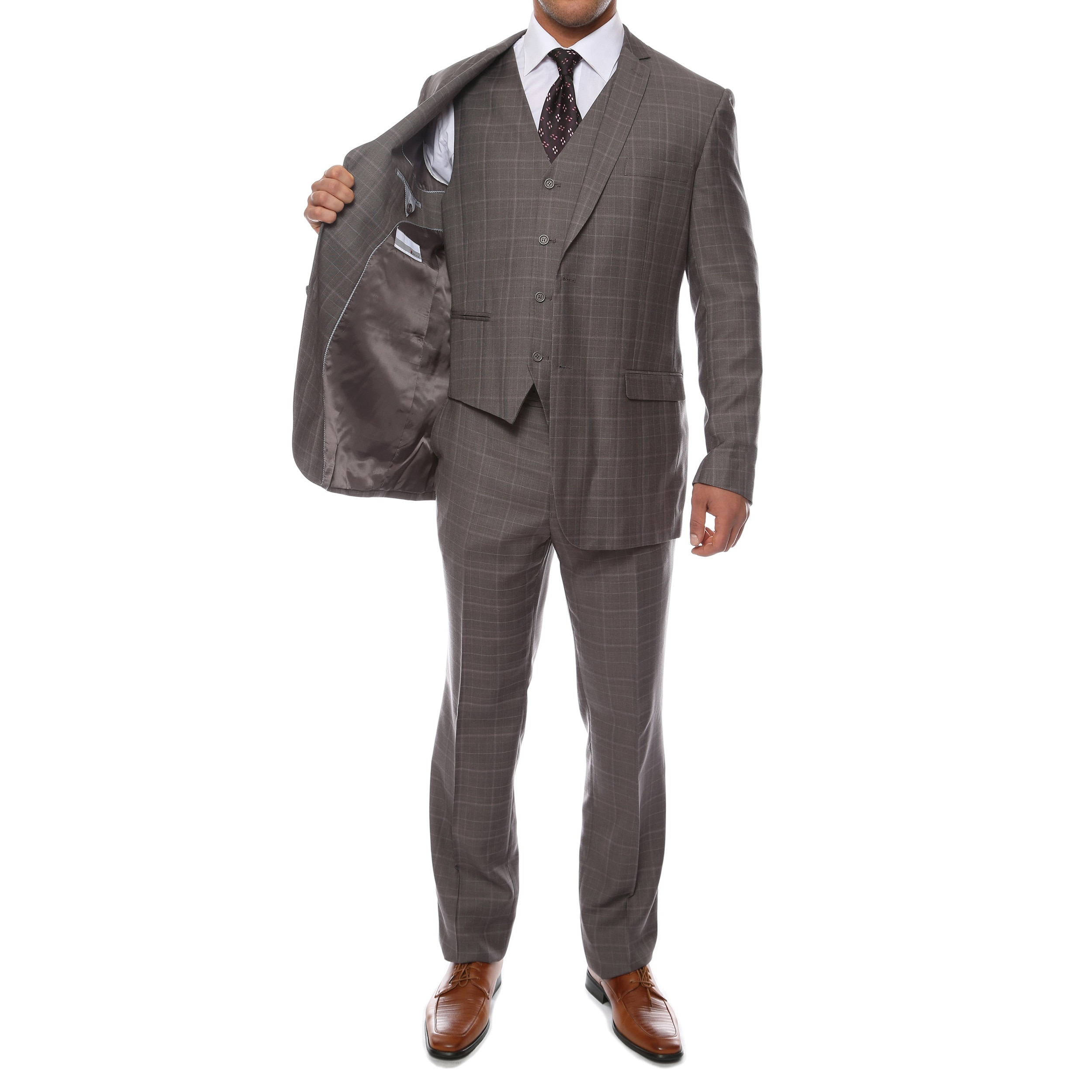 8b3c3d2a Shop Zonettie by Ferrecci Men's Custom Slim Fit Charcoal Grey Plaid 3-piece  Vested Suit - Free Shipping Today - Overstock - 9060788