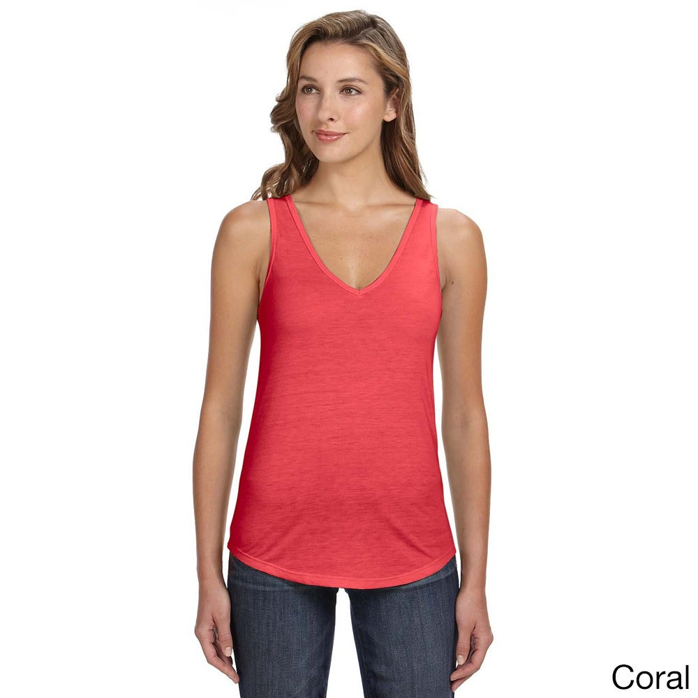 2647cc8fb1a9e Shop Bella Women s Flowy Relaxed Fit V-neck Tank - On Sale - Free Shipping  On Orders Over  45 - Overstock - 9060907