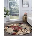Alise Lagoon Black Transitional Area Rug (5'3 Round)
