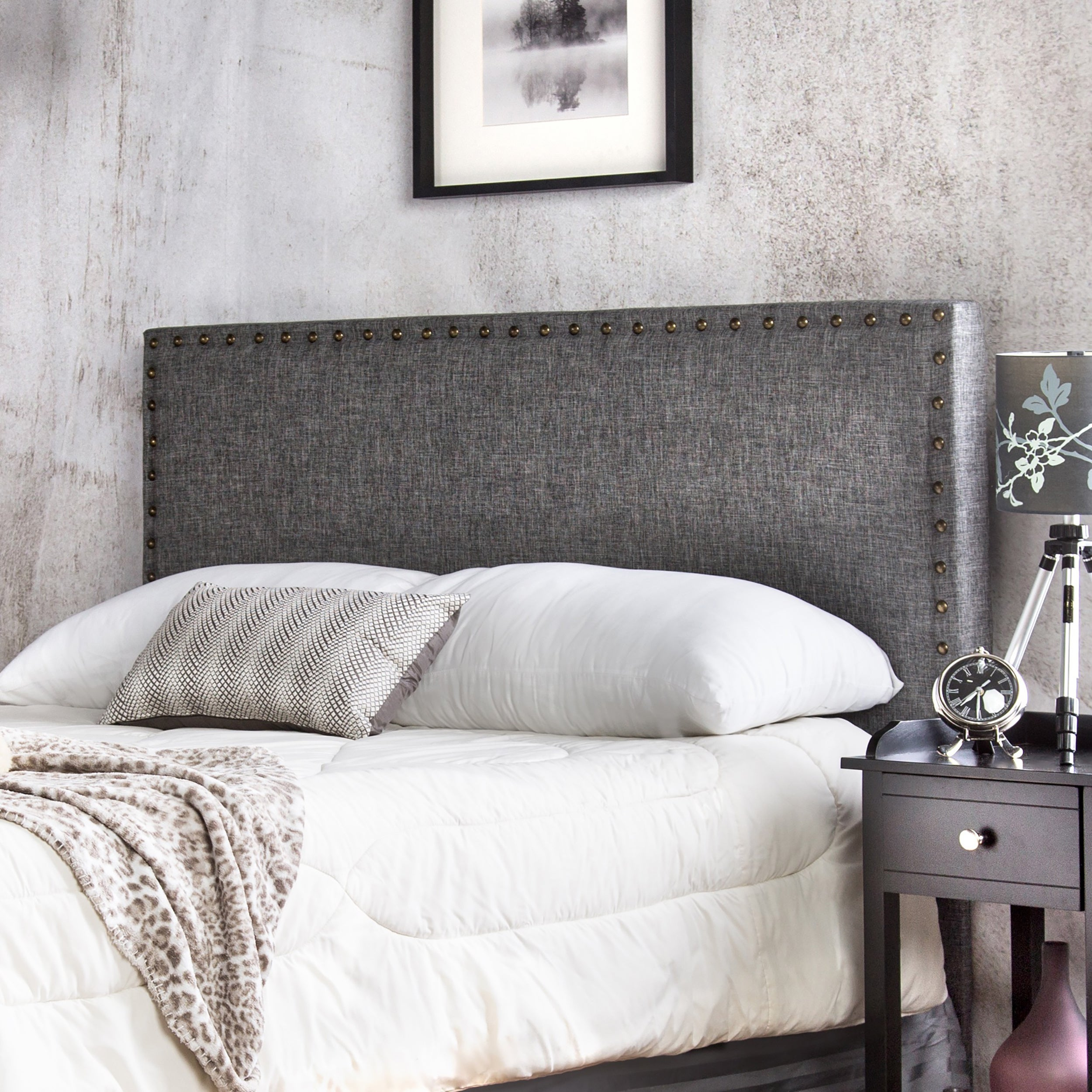 products bed nailhead upholstered in coaster fabric headboard queen item trim beige devon dunk number