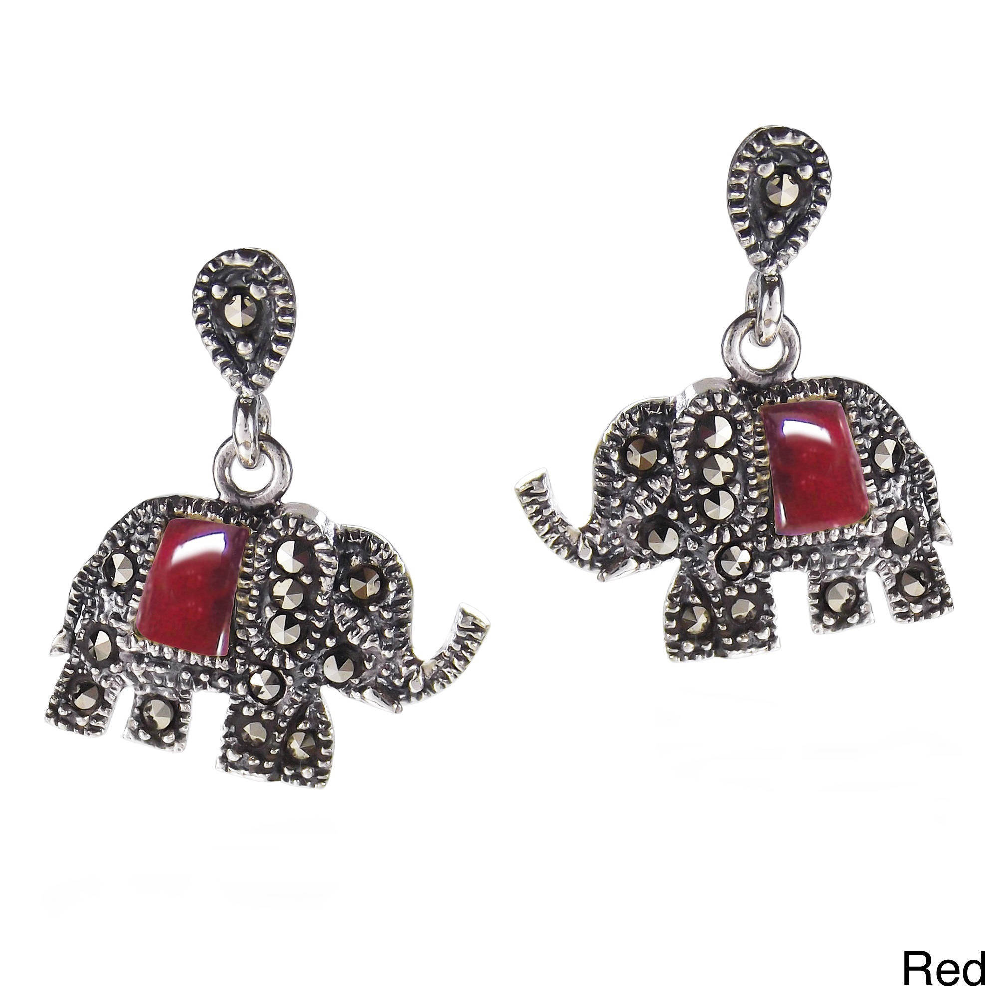 Shop Handmade Royal Elephant Stone and Marcasite 925 Silver