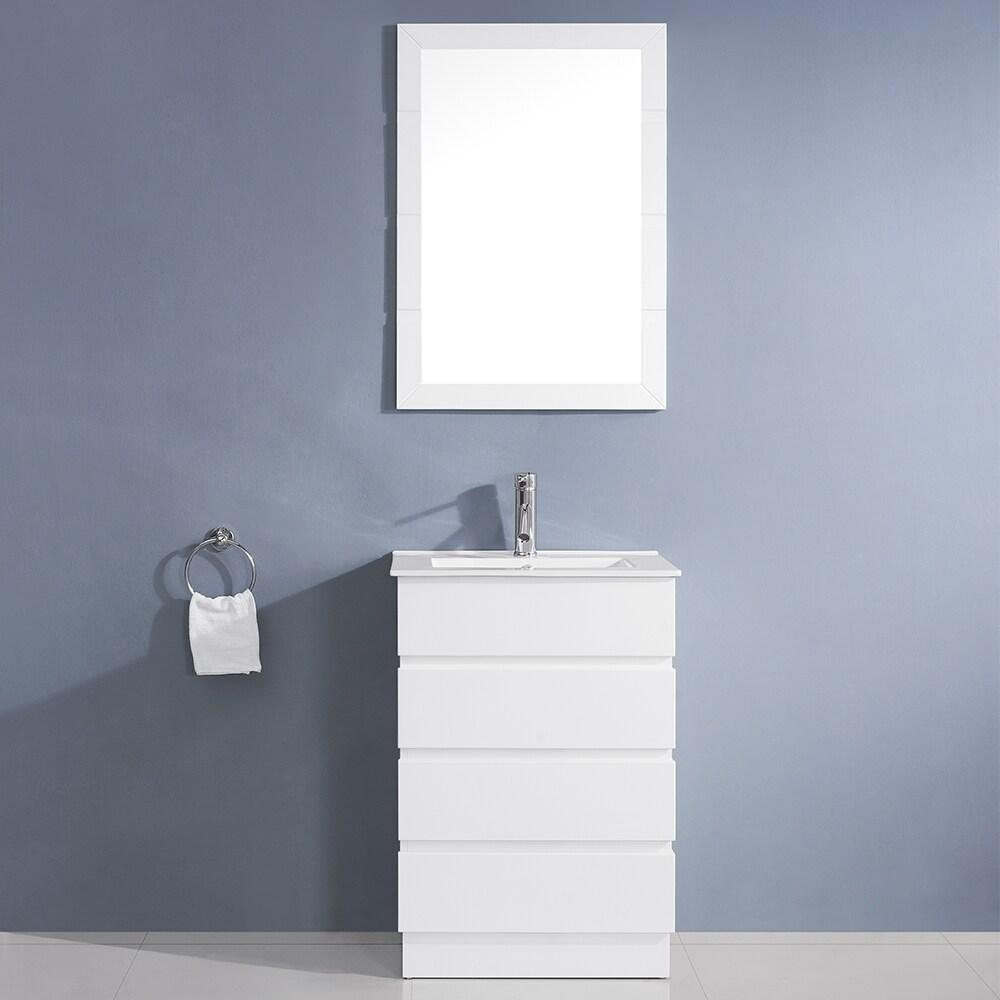 Shop Virtu USA Bruno 24-inch White Single Sink Vanity Set - Free ...