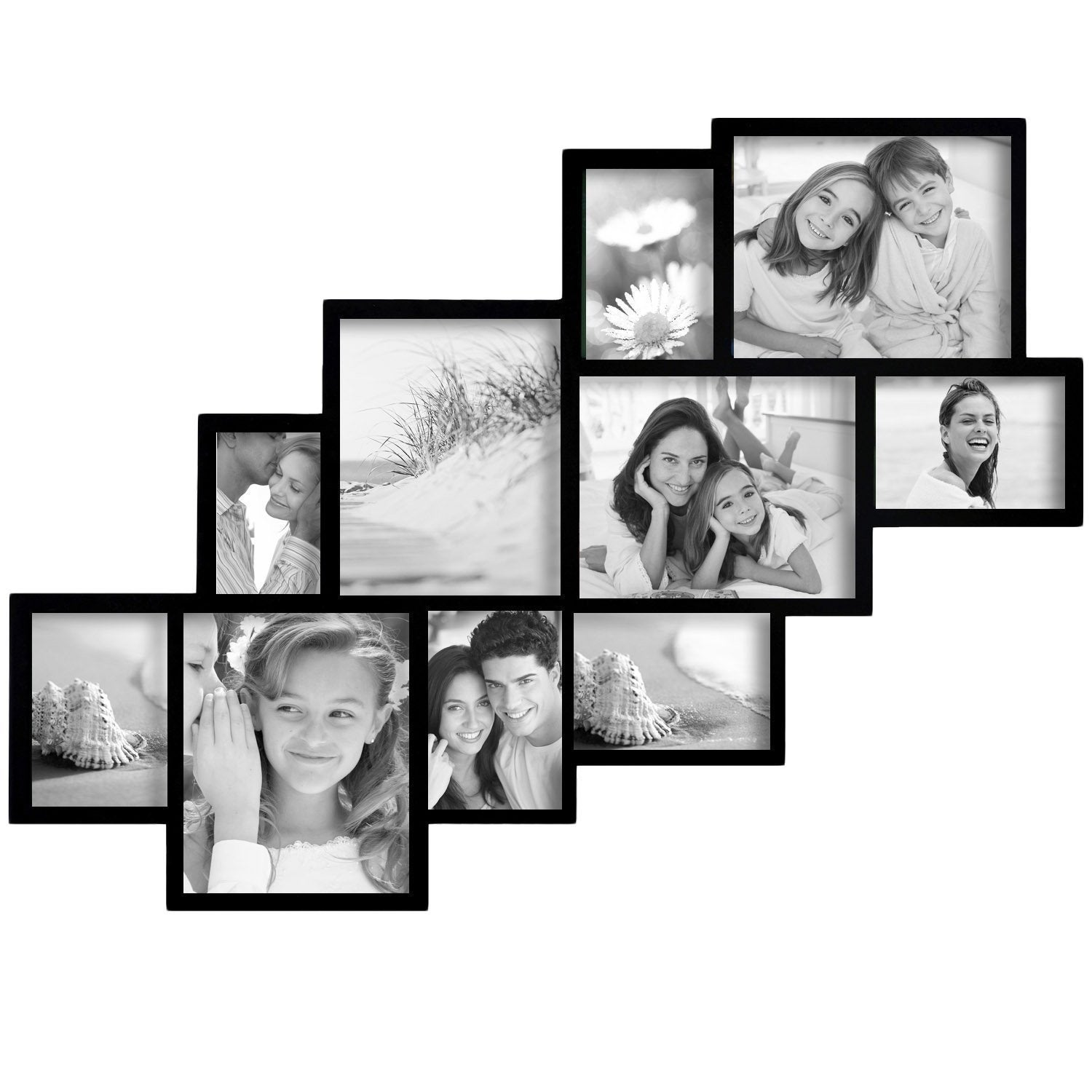 Shop Adeco Decorative Black Wood Wall Hanging Picture Frame Collage