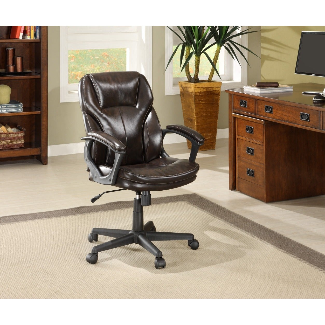 Serta Roasted Chestnut Brown Puresoft Faux Leather Managers Office Chair Free Shipping Today 9066790