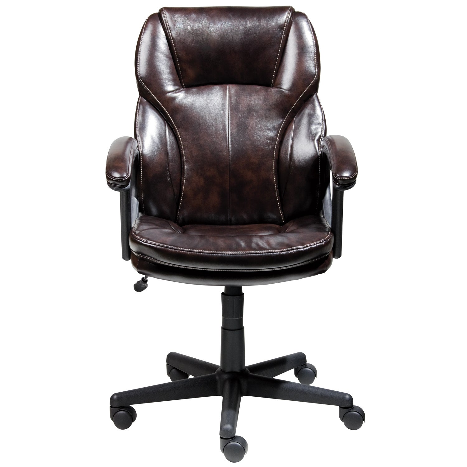 Serta Roasted Chestnut Brown Puresoft Faux Leather Managers Office Chair    Free Shipping Today   Overstock.com   16260147