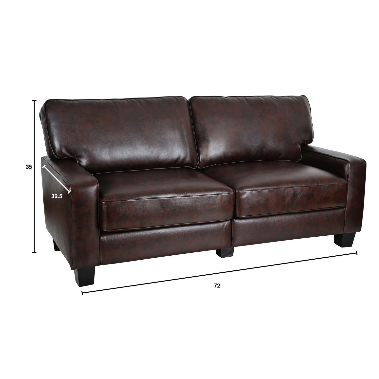 Serta Rta Monaco Collection 72 Inch Brown Leather Sofa Free Shipping Today 9066802