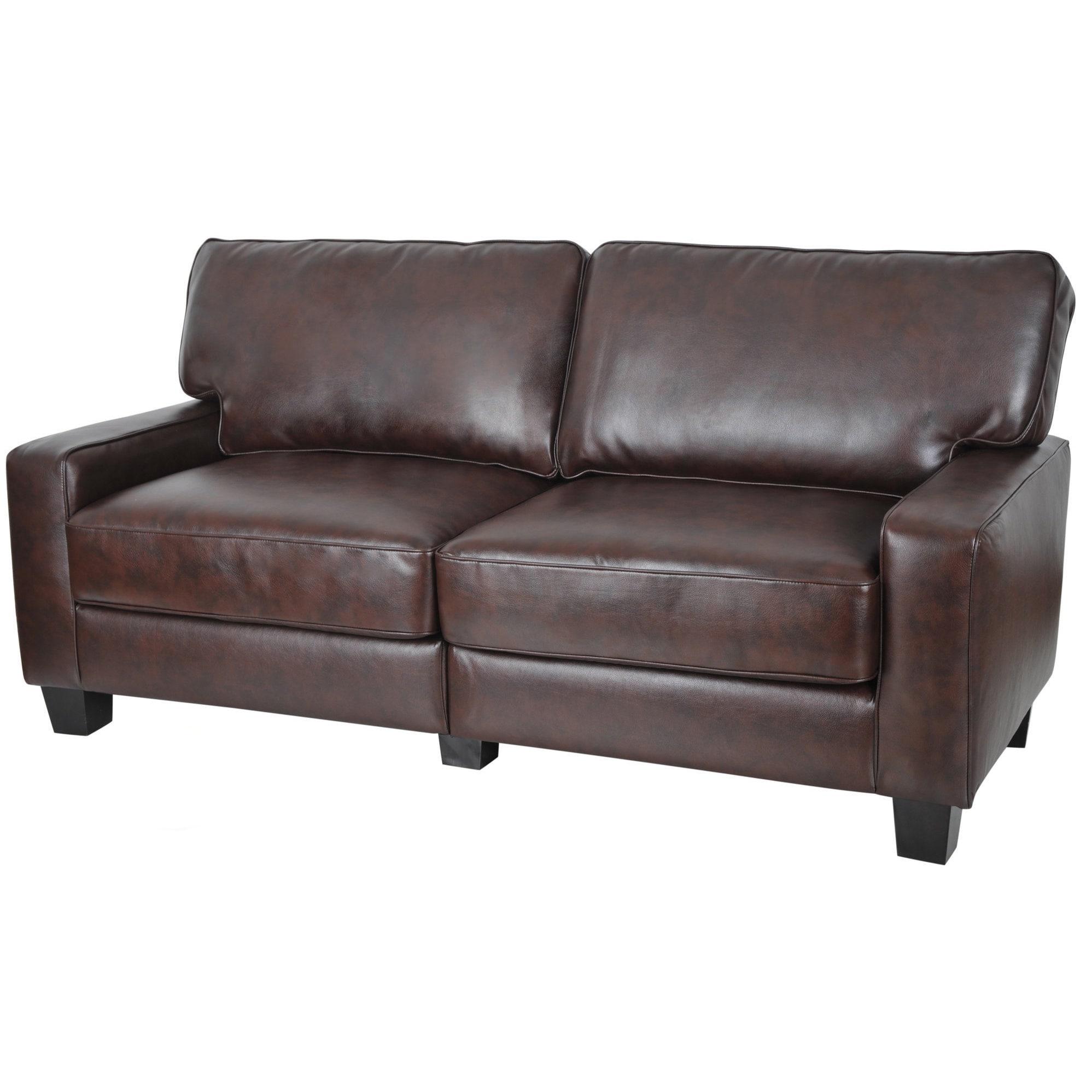Shop Serta Rta Monaco Collection 72 Inch Brown Leather Sofa Free