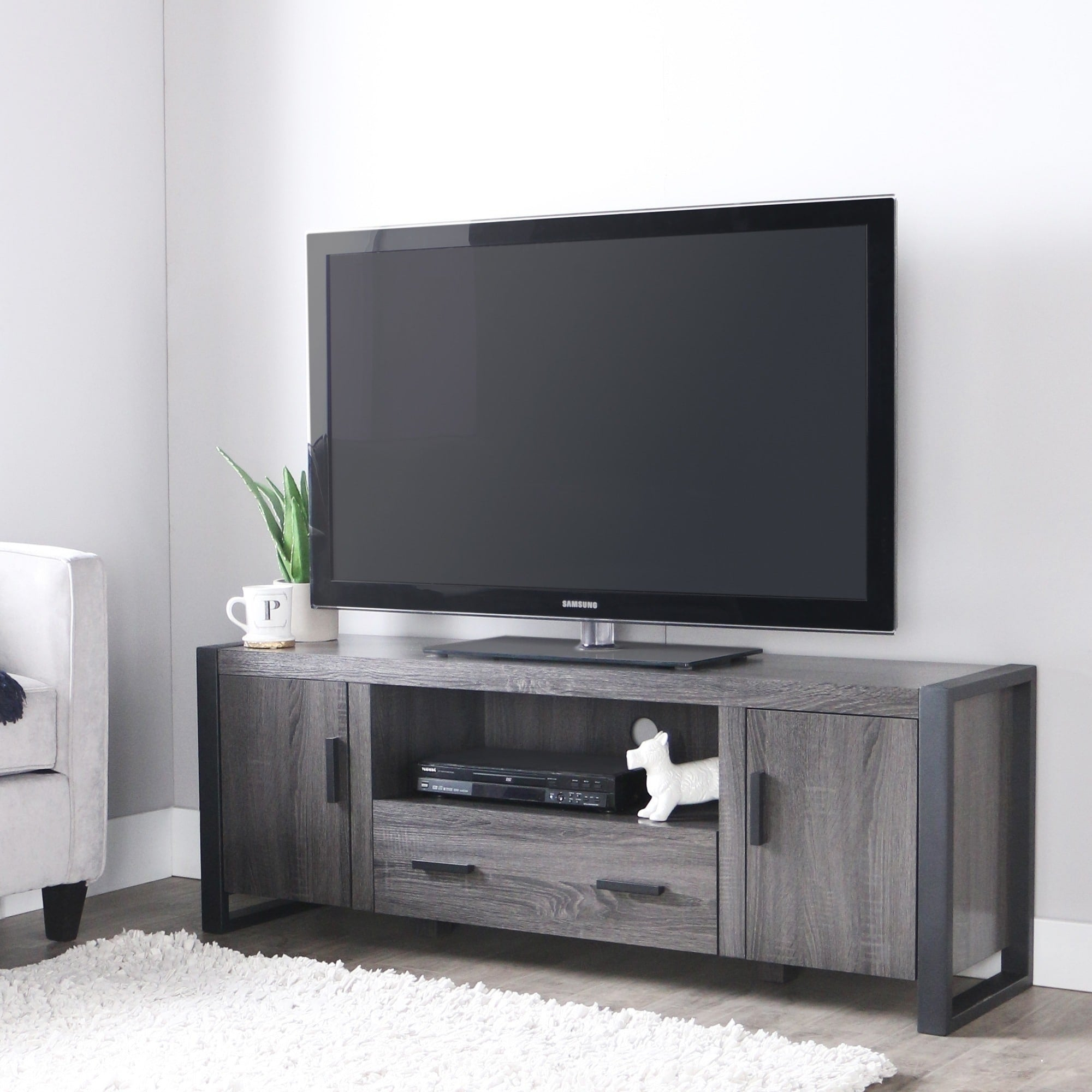 Shop 60 Urban Blend Tv Stand Console Charcoal Free Shipping