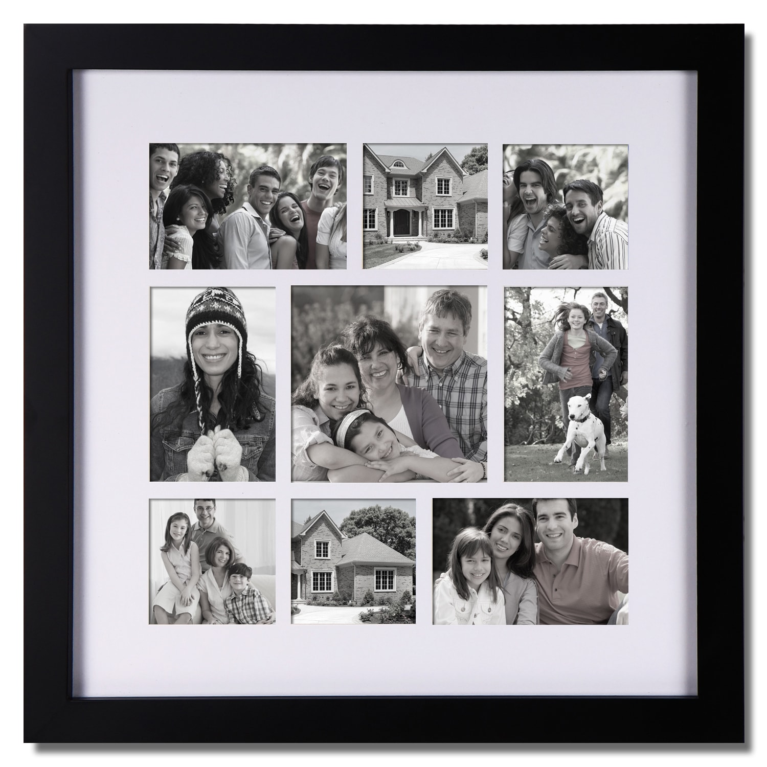 Shop Adeco 9-opening Black Wooden Photo Collage Frame - Free ...
