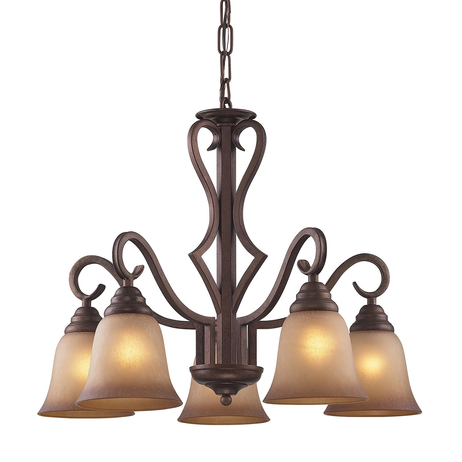 Lawrenceville 5 light Mocha Antique Amber Glass Chandelier Free