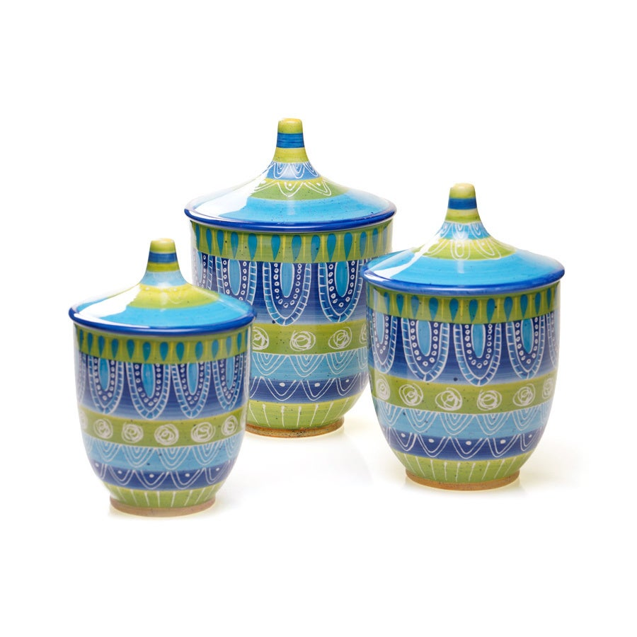 Shop Tapas 3-piece Ceramic Canister Set - Free Shipping Today ...