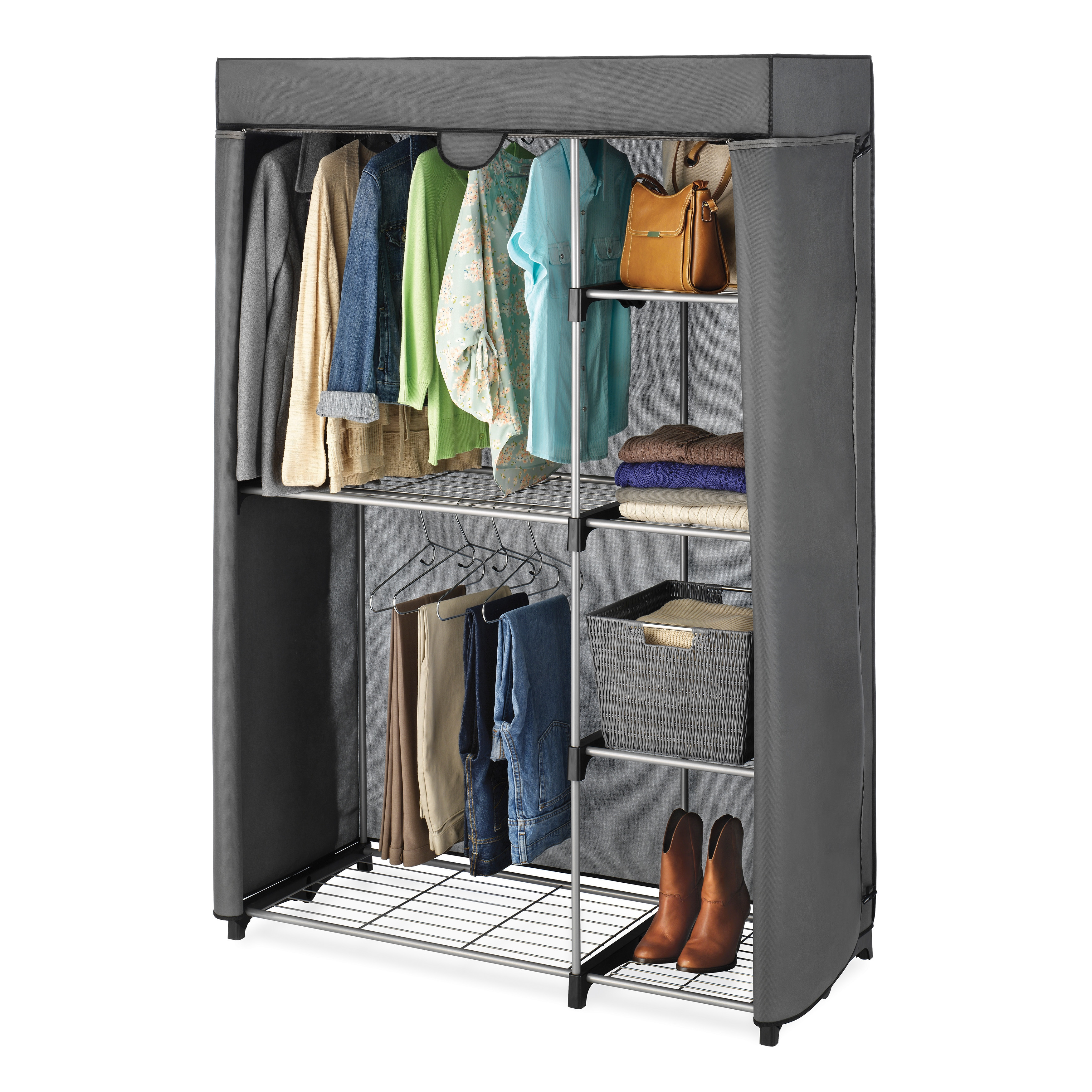 Bon Shop Double Rod Closet Cover   Free Shipping Today   Overstock.com   9068150