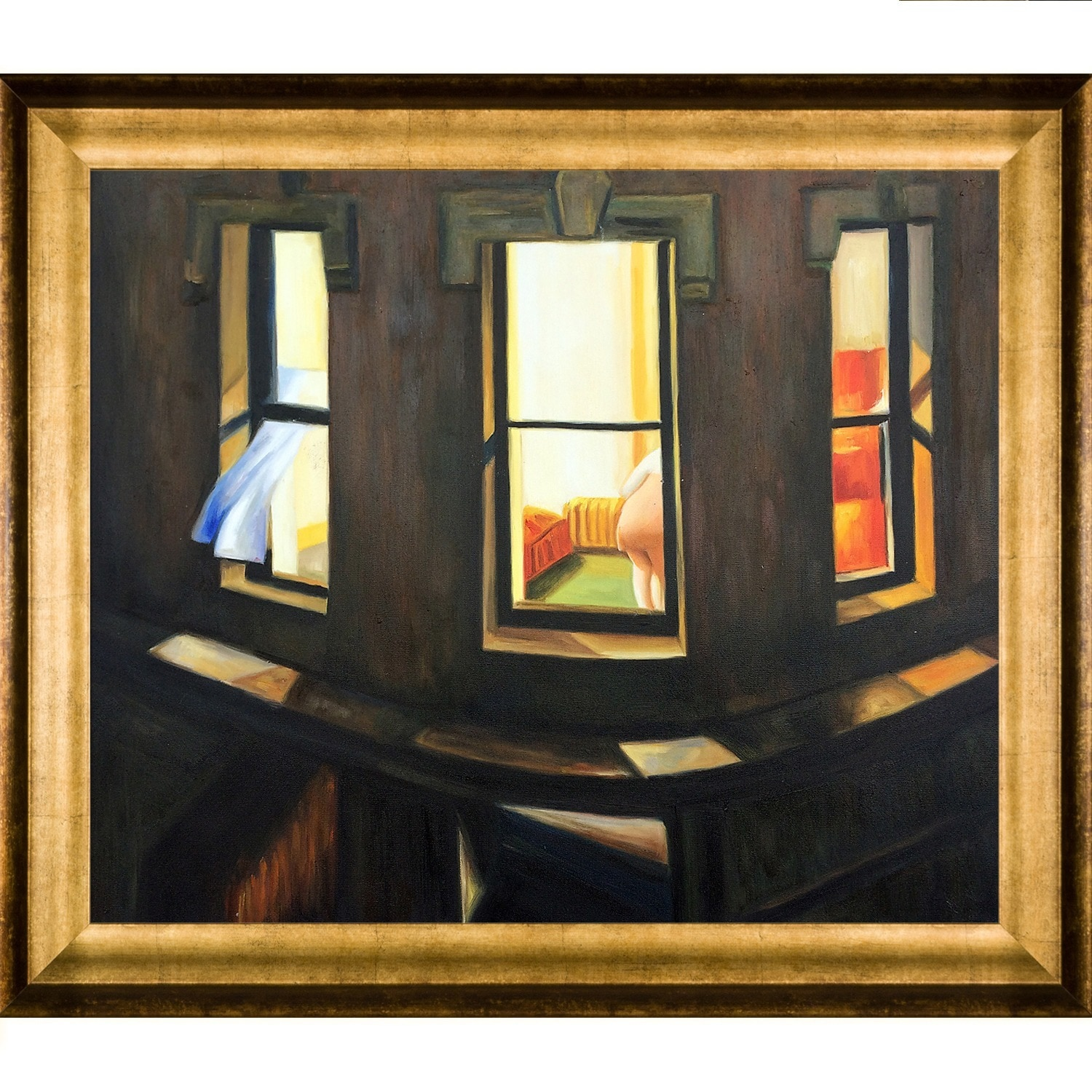 Edward Hopper Night Windows Hand Painted Framed Canvas Art Overstock 9068859
