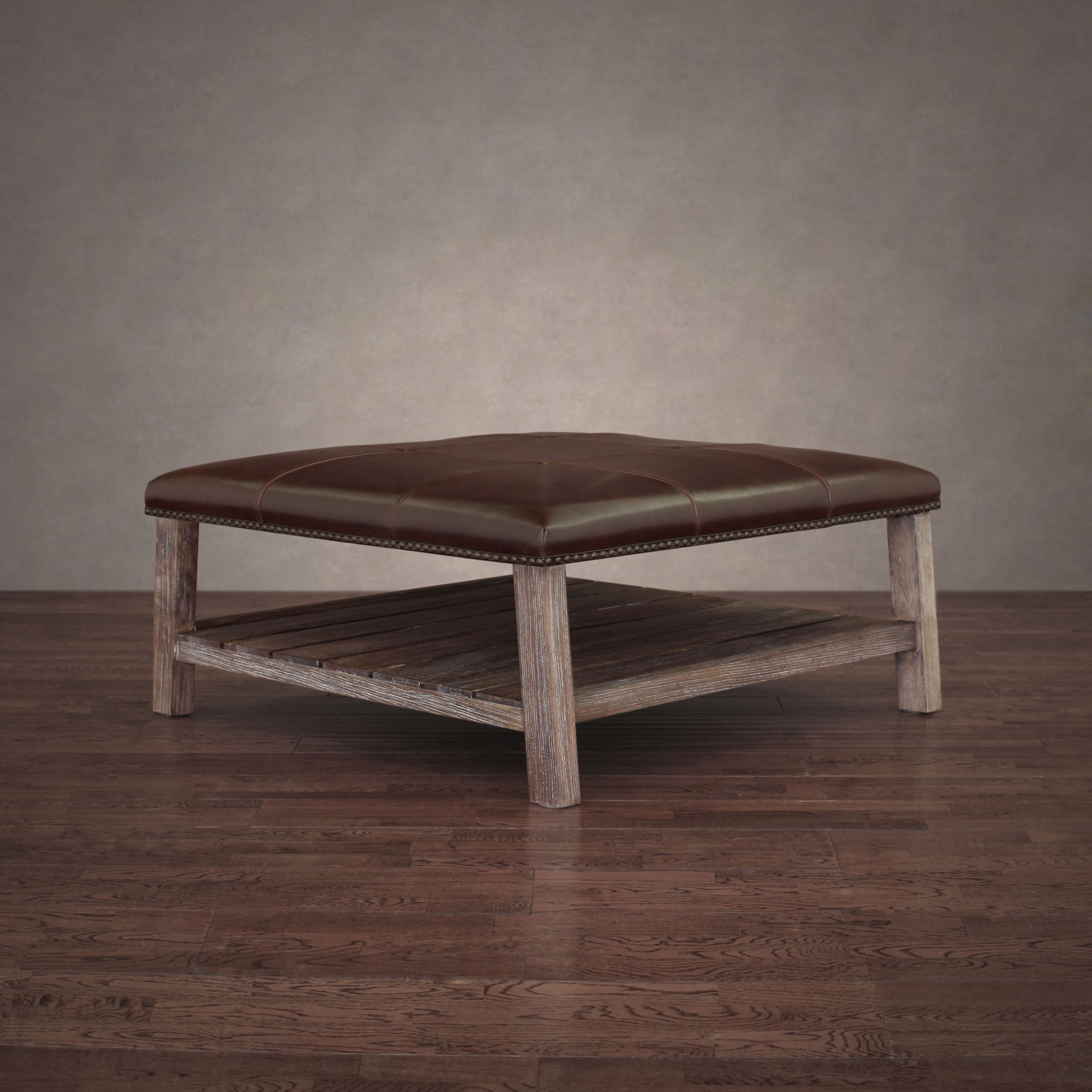 Shop Stones U0026 Stripes Antonio Vintage Tobacco Leather Grey Finish Wood  Coffee Table Ottoman   On Sale   Free Shipping Today   Overstock.com    20253966
