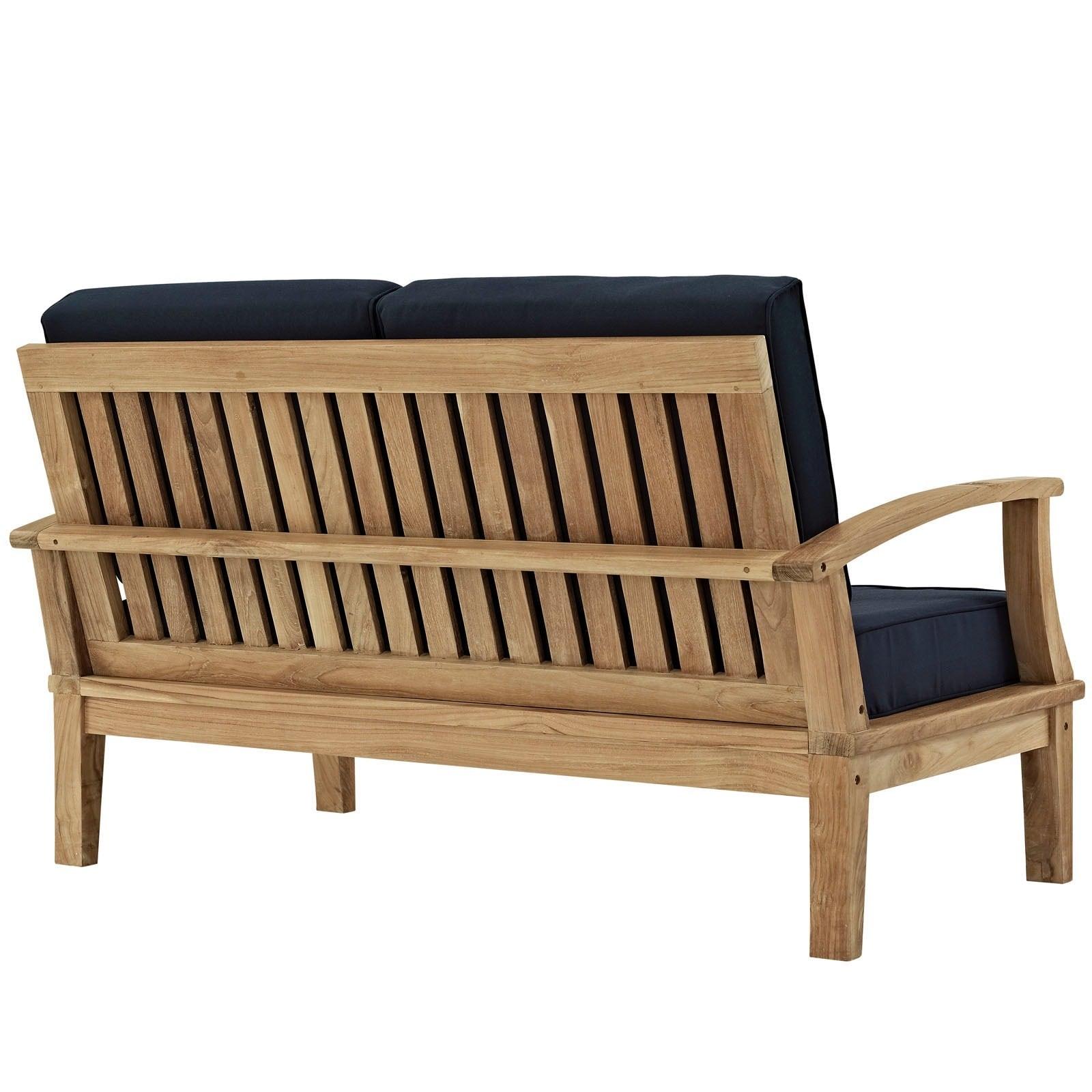 Shop Marina 3 Piece Outdoor Patio Teak Sofa Set   Free Shipping Today    Overstock.com   9070673