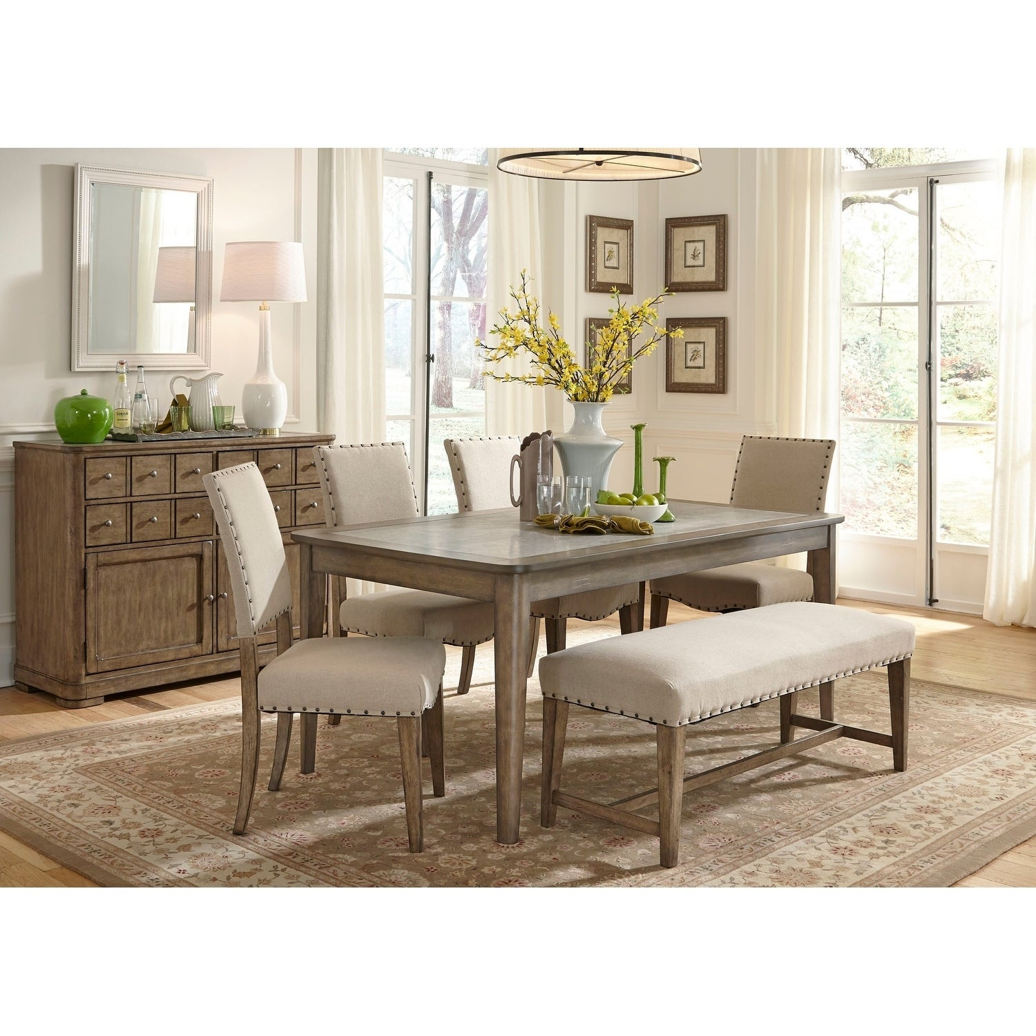 Shop Weatherford Grey Upholstered Nailhead Dining Bench   On Sale   Free  Shipping Today   Overstock.com   9070713